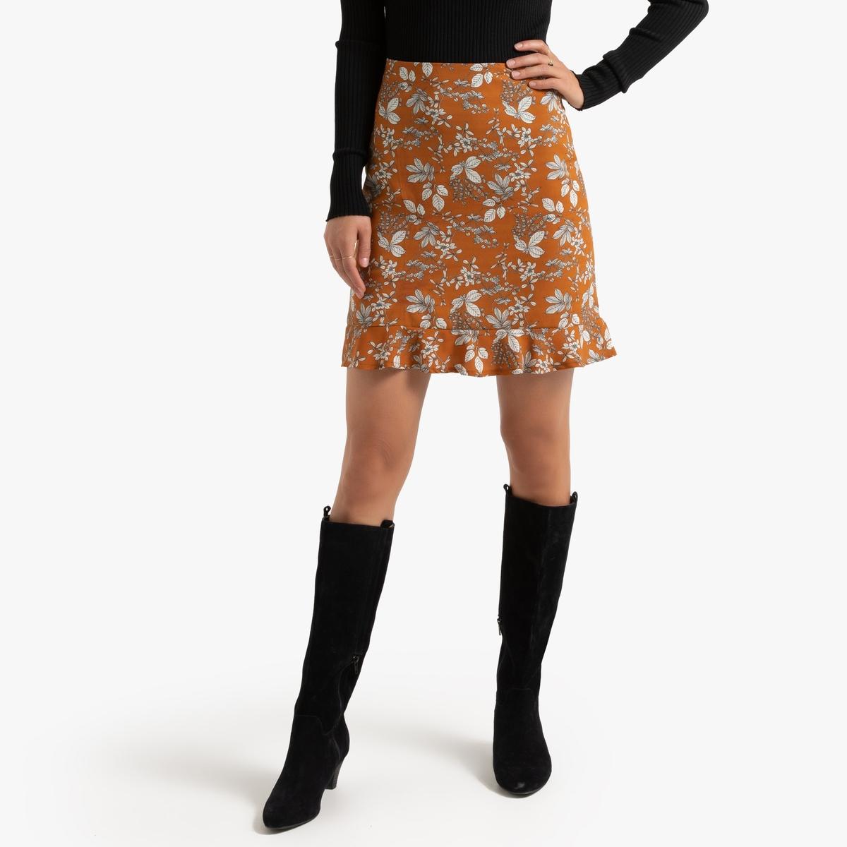 Falda recta con estampado de flores y pequeño volante