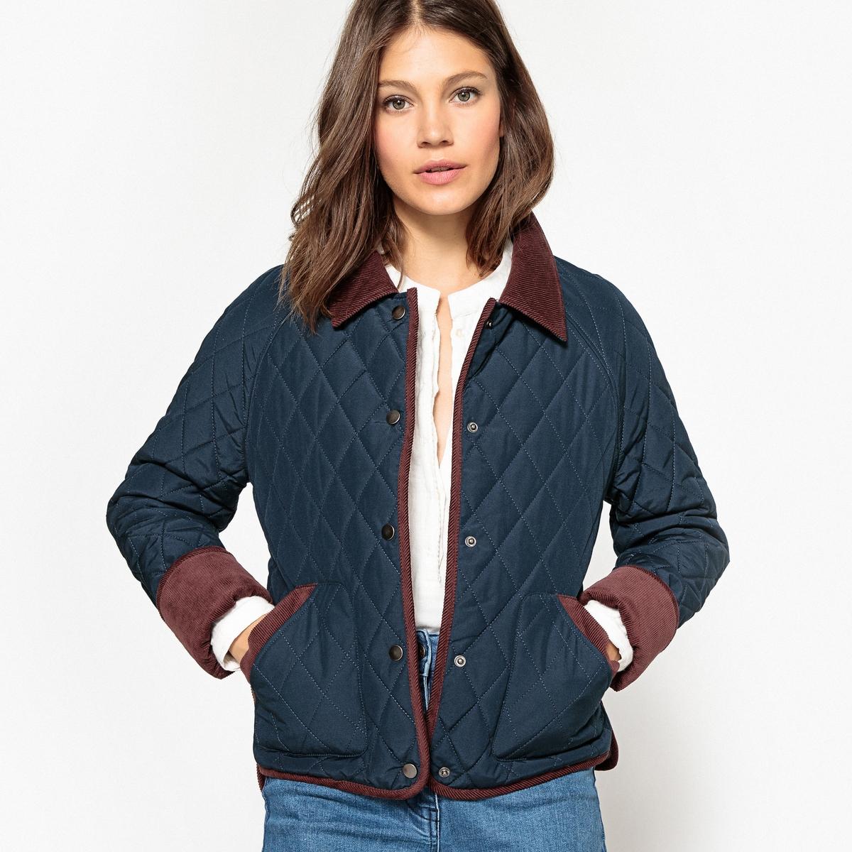Куртка стеганаяОписание:Теплая и удобная стеганая куртка - незаменимая вещь для грядущей зимы . Красивая отделка контрастным велюром .Детали •  Длина : укороченная   •  Воротник-поло, рубашечный  •  Застежка на кнопкиСостав и уход •  55% хлопка, 45% полиэстера •  Температура стирки 30° •  Сухая чистка и отбеливатели запрещены •  Не использовать барабанную сушку   •  Не гладить •  Длина : 62 см<br><br>Цвет: темно-синий<br>Размер: 36 (FR) - 42 (RUS).38 (FR) - 44 (RUS).52 (FR) - 58 (RUS).46 (FR) - 52 (RUS)