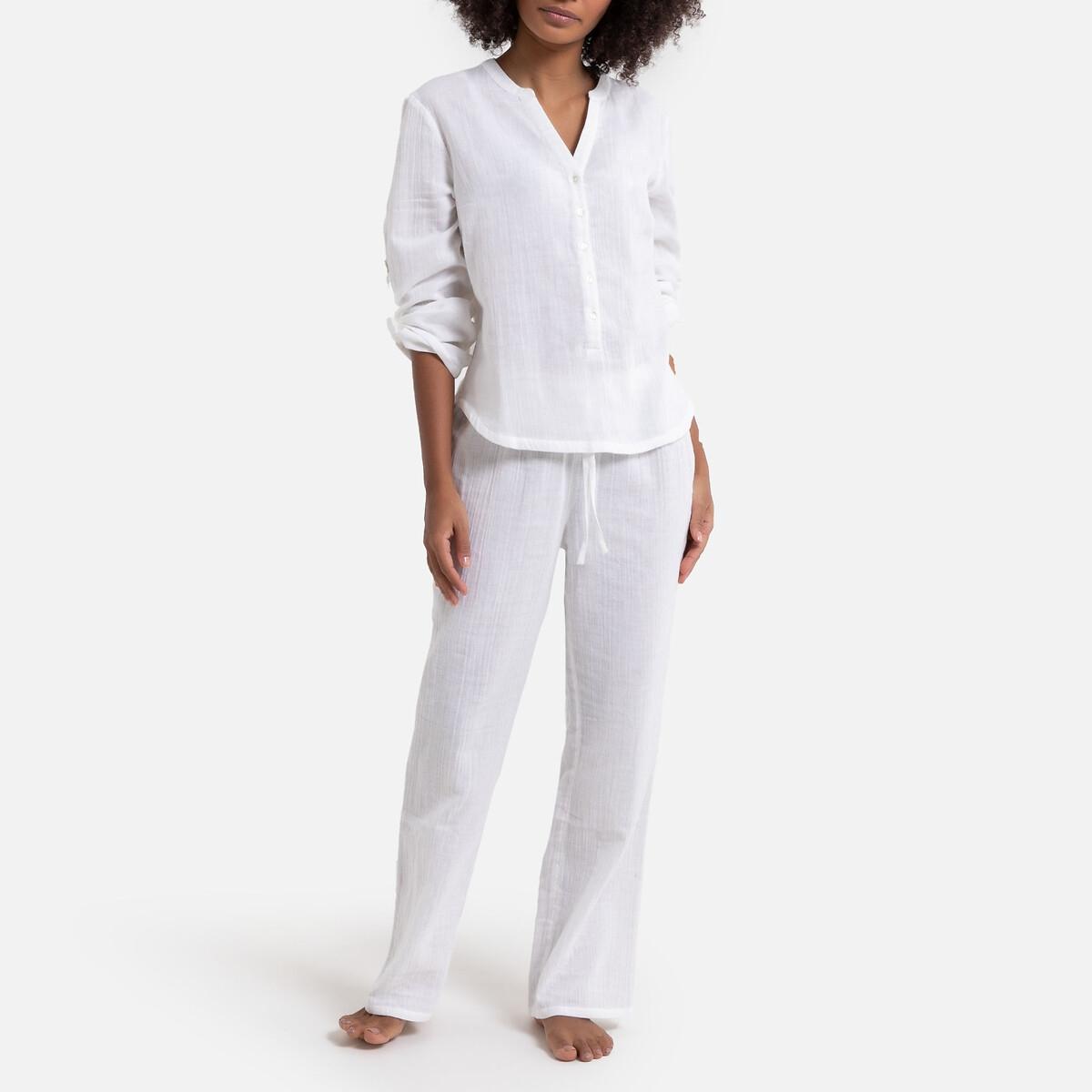 Pijama de manga corta de gasa de algodón