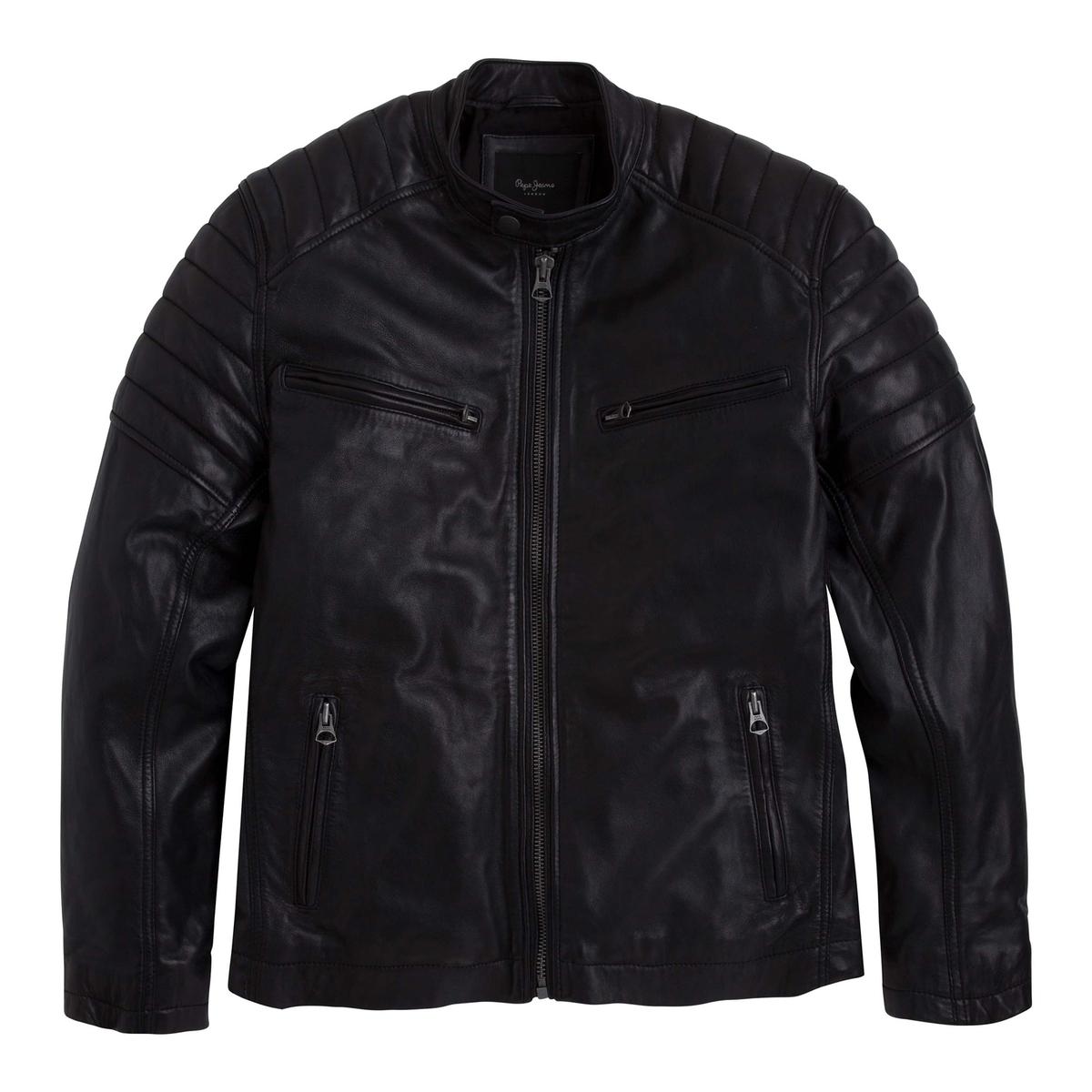 Блузон кожаный короткий на молнии в байкерском стиле блузон короткий демисезонный
