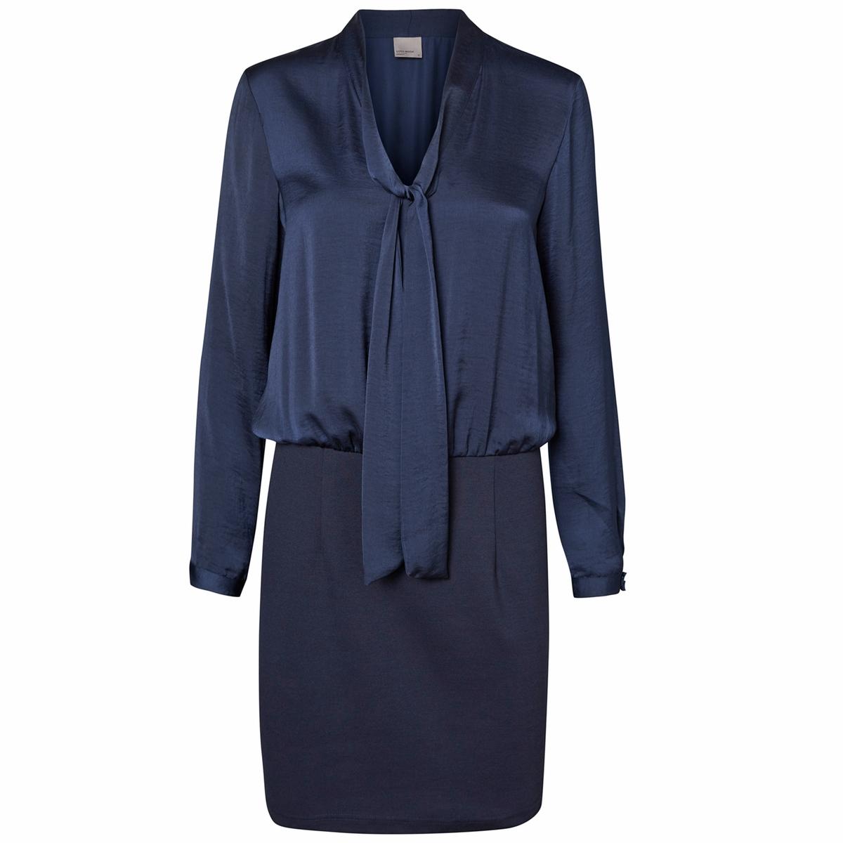 Платье короткое, с длинными рукавами, однотонноеМатериал : 100% полиэстер  Длина рукава : длинные рукава  Форма воротника : V-образный вырез Покрой платья : платье прямого покроя   Рисунок : однотонная модель   Длина платья : укороченная модель<br><br>Цвет: темно-синий,черный<br>Размер: XL.L