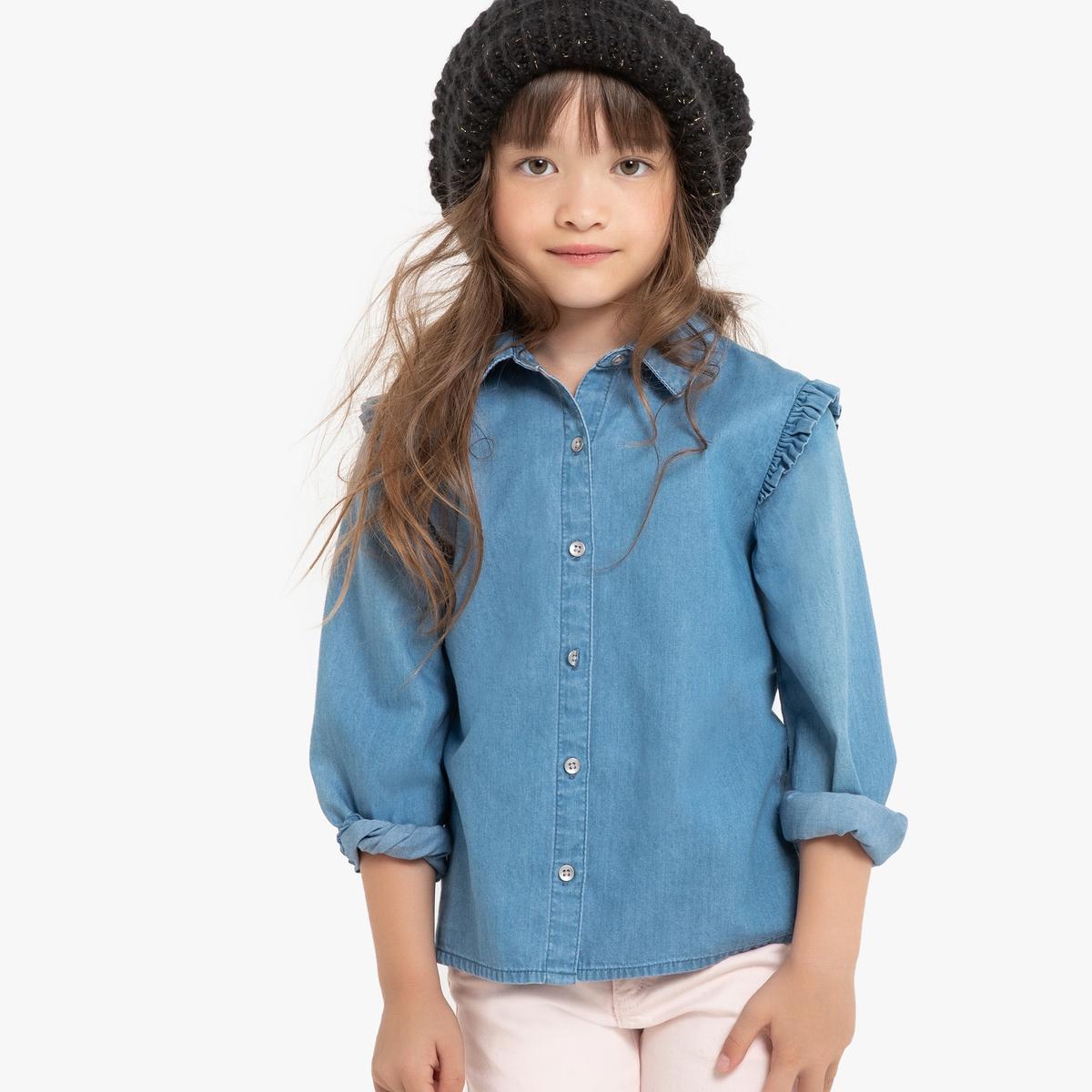 Рубашка La Redoute Джинсовая с воланами 8 лет - 126 см синий рубашка la redoute джинсовая узкая jjesheridan s синий