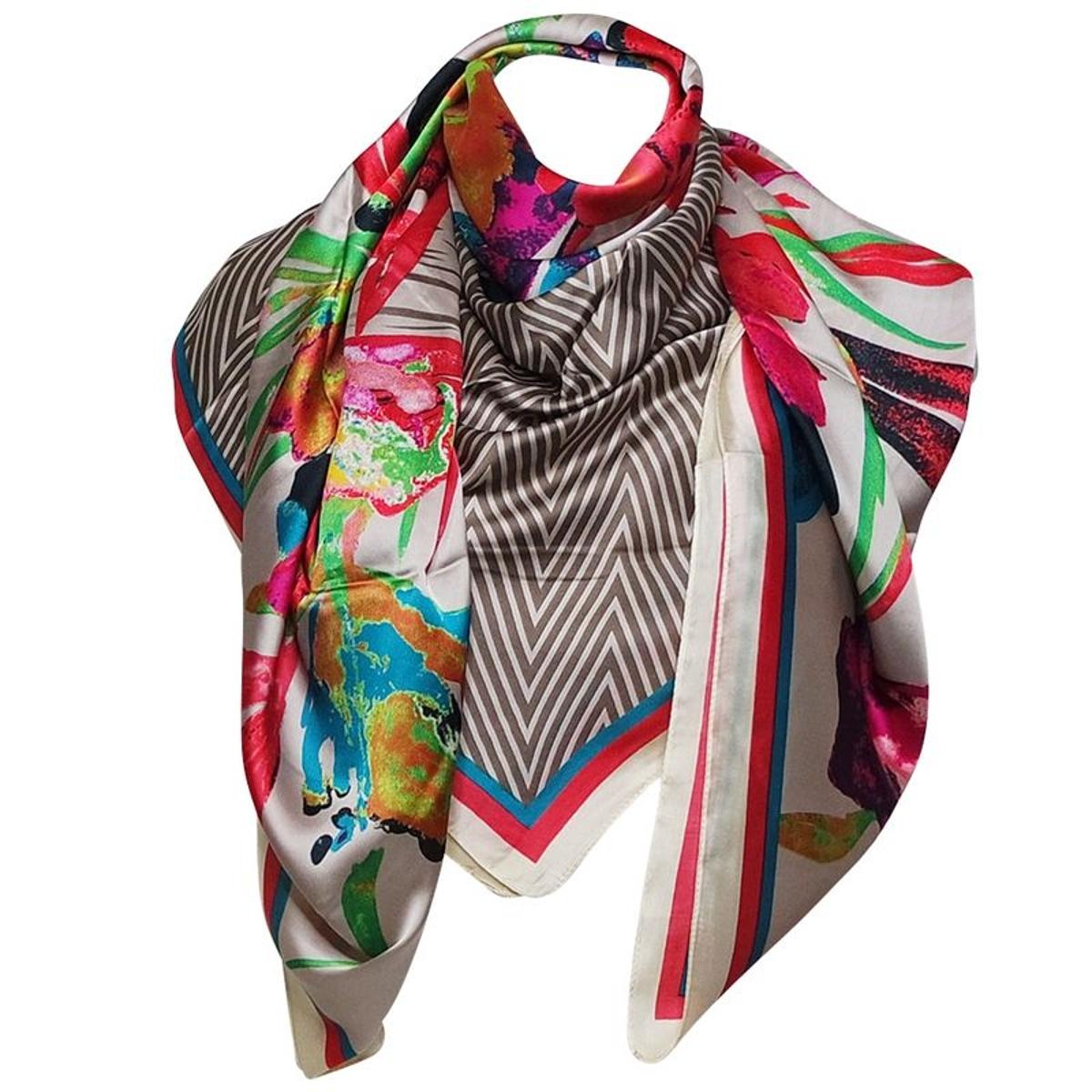 Grand foulard soie savane