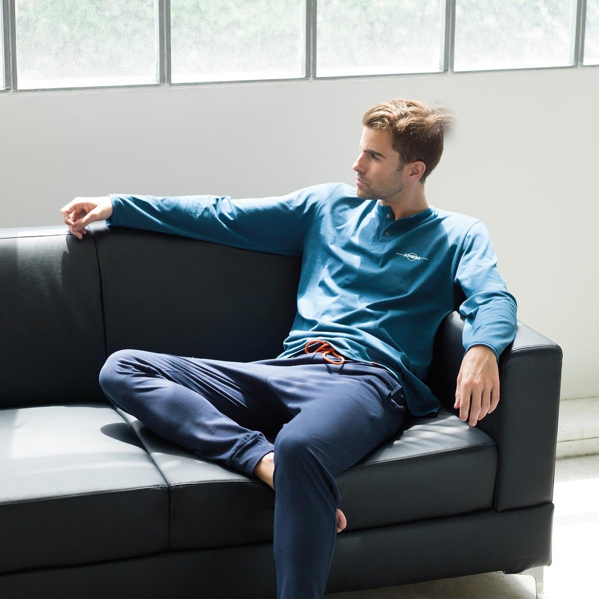 Пижама длинная с тунисским вырезом из биохлопка