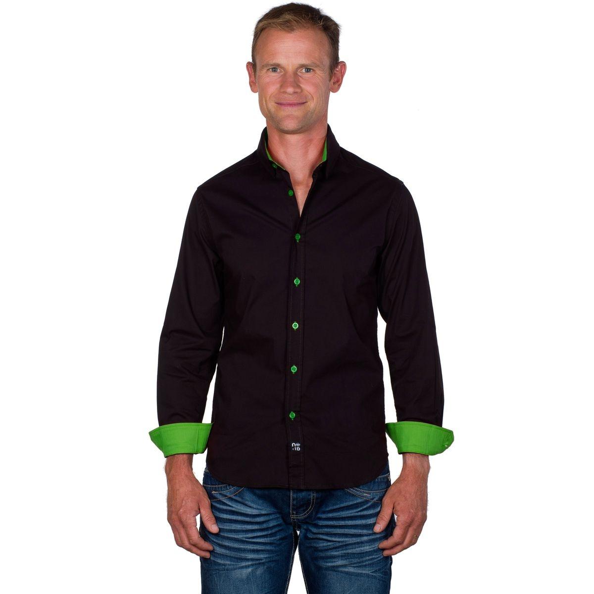 Chemise slim en coton stretch bicolore manches longues