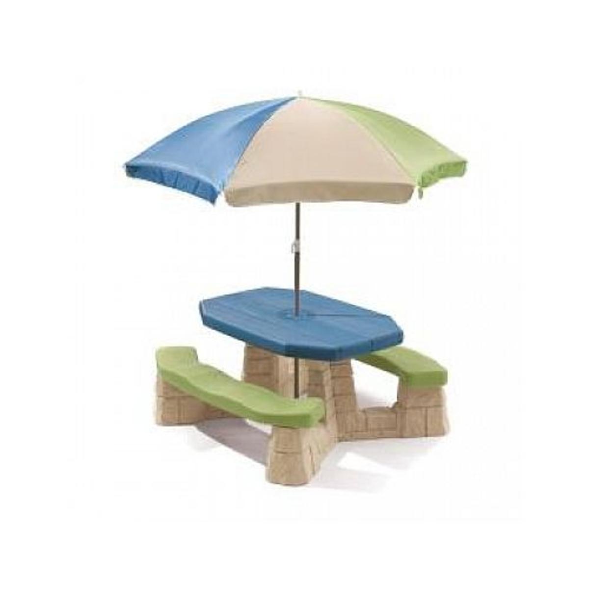 Table picnic avec parasol haut socle beige