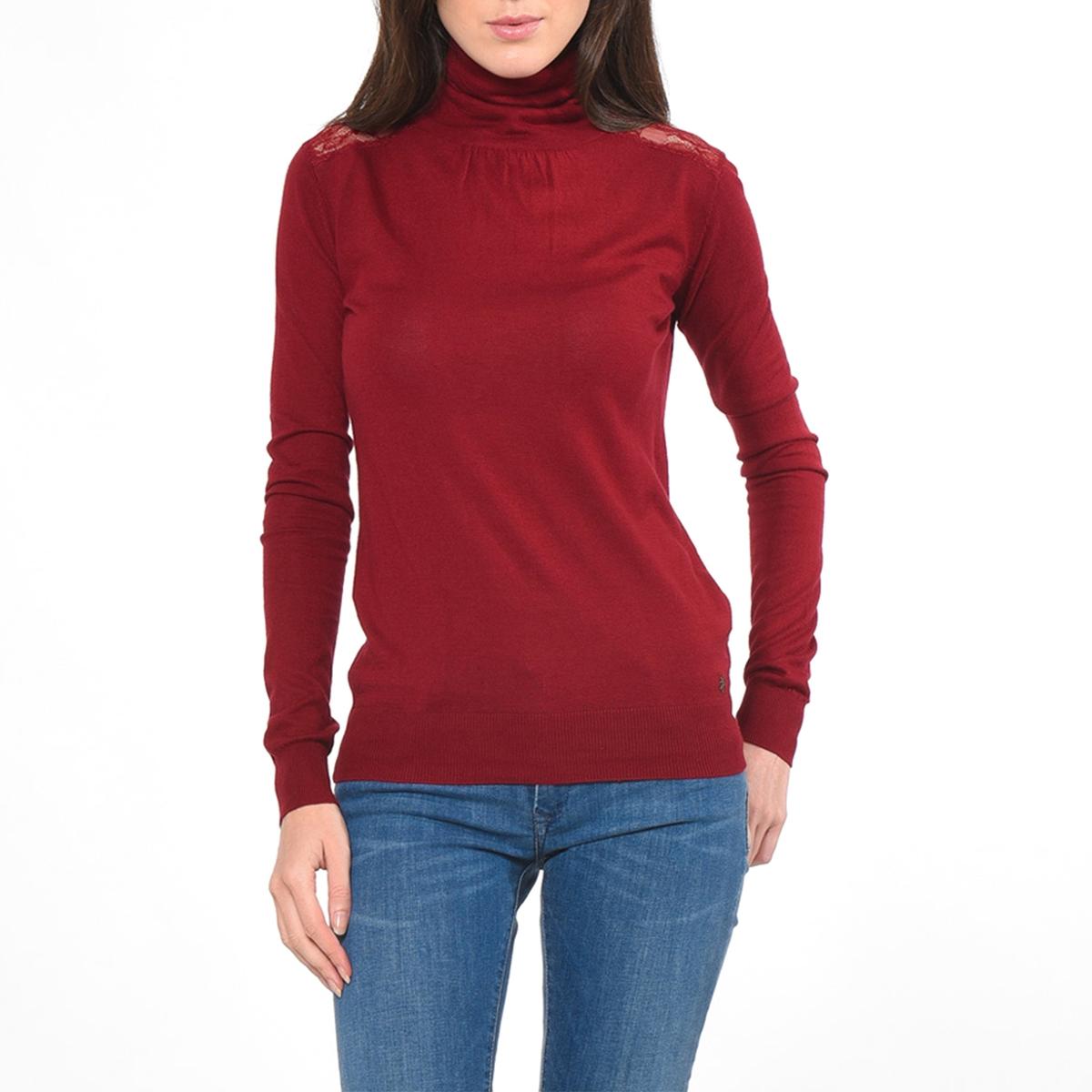 Пуловер с длинными рукавами и отворачивающимся воротником, STANСостав и описаниеМарка :  KAPORALМодель : STANМатериал : 60% вискозы, 40% хлопкаУходМашинная стирка при 30 °C   Стирать с вещами схожих цветов<br><br>Цвет: черный
