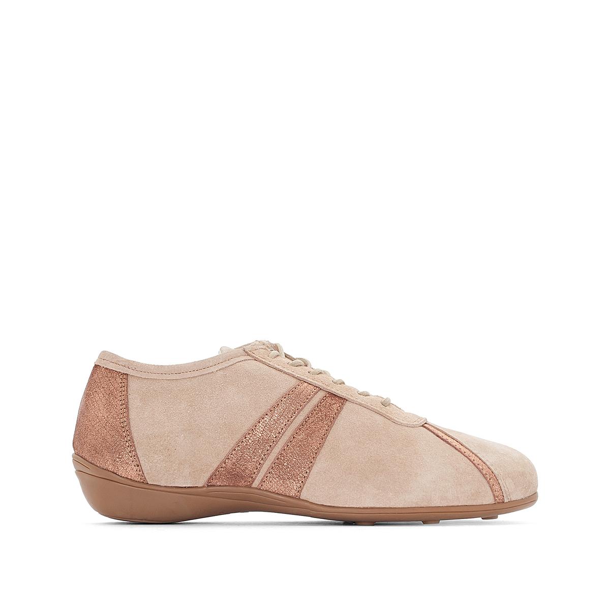 Кеды кожаные двухцветныеДетали •  Спортивный стиль •  Плоский каблук •  Застежка : шнуровка •  Гладкая отделкаСостав и уход •  Верх 100% кожа •  Подкладка 100% текстиль •  Стелька 100% кожа •  Подошва 100% эластомер<br><br>Цвет: розовый металлик