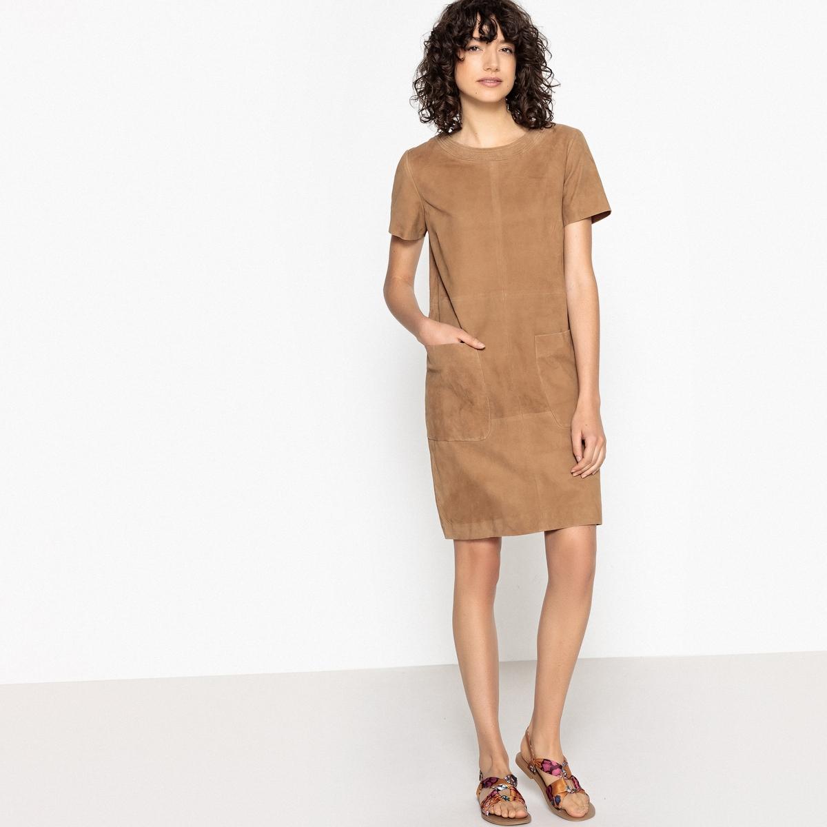 Платье однотонное из кожи с карманами