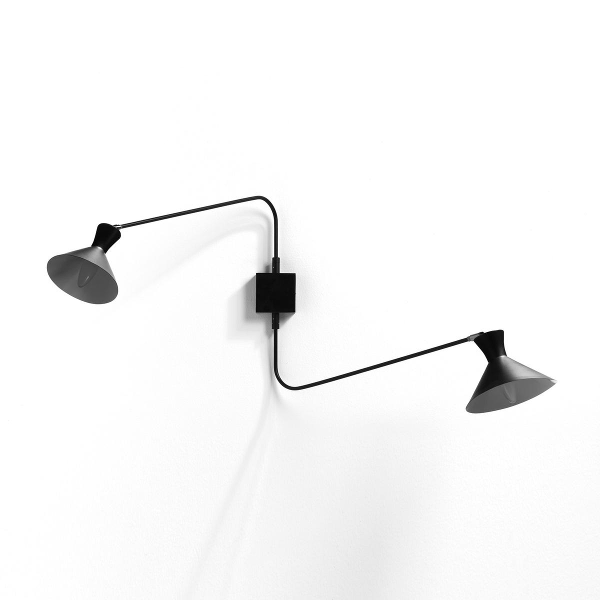 Бра с 2 лапками, VoltigeБра Voltige. Строгий и функциональный дизайн. 2 регулируемые лапки обеспечивают направленное освещение . Характеристики : - Из металла с черным эпоксидным покрытием . - Патроны E14 для лампочек макс 11W (не входят в комплект)  . - Этот светильник совместим с лампочками    энергетического класса   A-B-C-D-E .Размеры : - 120 x 50 x 40 см (в обычном положении).    - Абажур ?17 см<br><br>Цвет: белый,черный