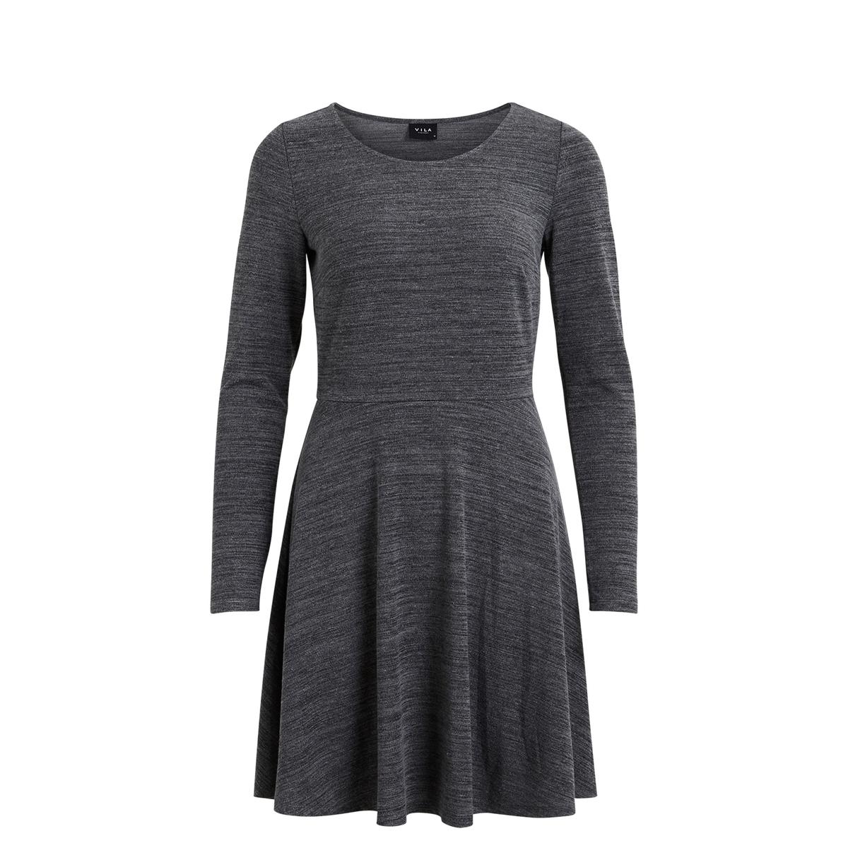 Платье прямого покрояПлатье VILA. Платье прямого покроя. Мягкий и струящийся материал . Состав и описание :Материал : 53% растительных волокон, 43% полиэстера, 4% эластана Марка : VILA.<br><br>Цвет: темно-серый меланж