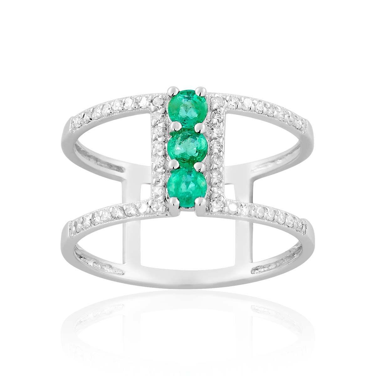 Bague en Or 750/1000, Emeraude Vert et Diamant