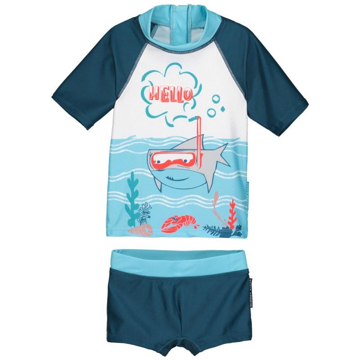 Maillot de bain ANTI-UV 2 pièces t-shirt & boxer garçon Sharky