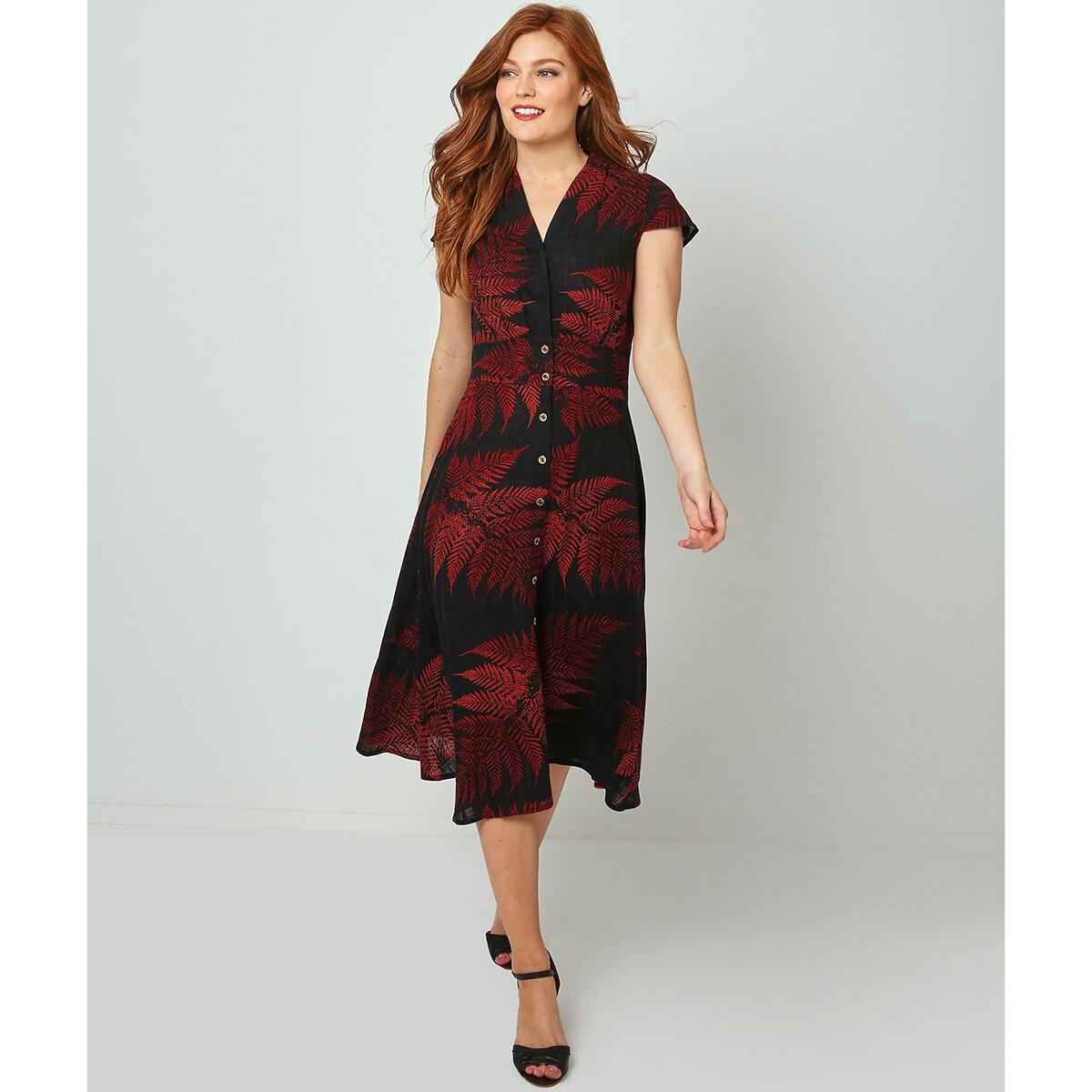 Платье-миди LaRedoute На пуговицах с принтом 42 (FR) - 48 (RUS) красный юбка laredoute длинная асимметричная с принтом 42 fr 48 rus зеленый