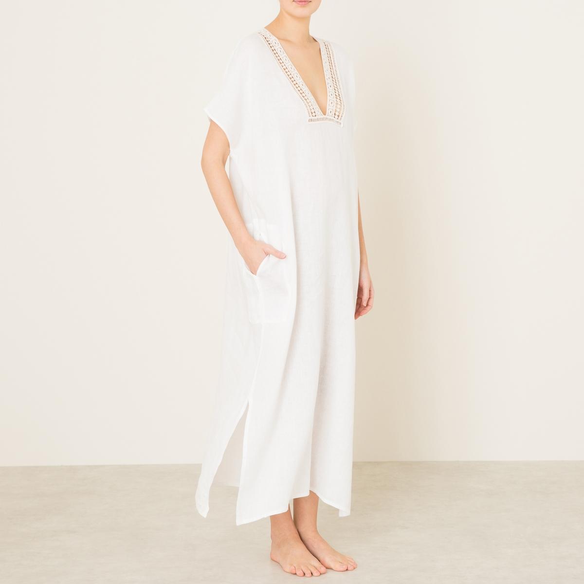 Платье из льнаСостав и описание    Материал : 100% лен   Длина : ок. 128 cм. для размера 36   Марка : HARTFORD<br><br>Цвет: экрю