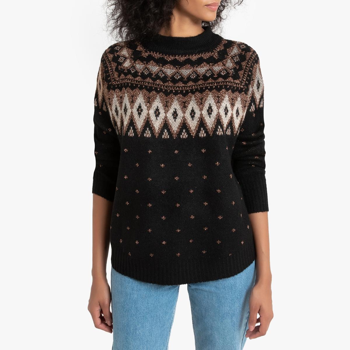 Пуловер La Redoute С длинными рукавами круглым вырезом и жаккардовым рисунком M черный блузка с круглым вырезом графическим рисунком и длинными рукавами