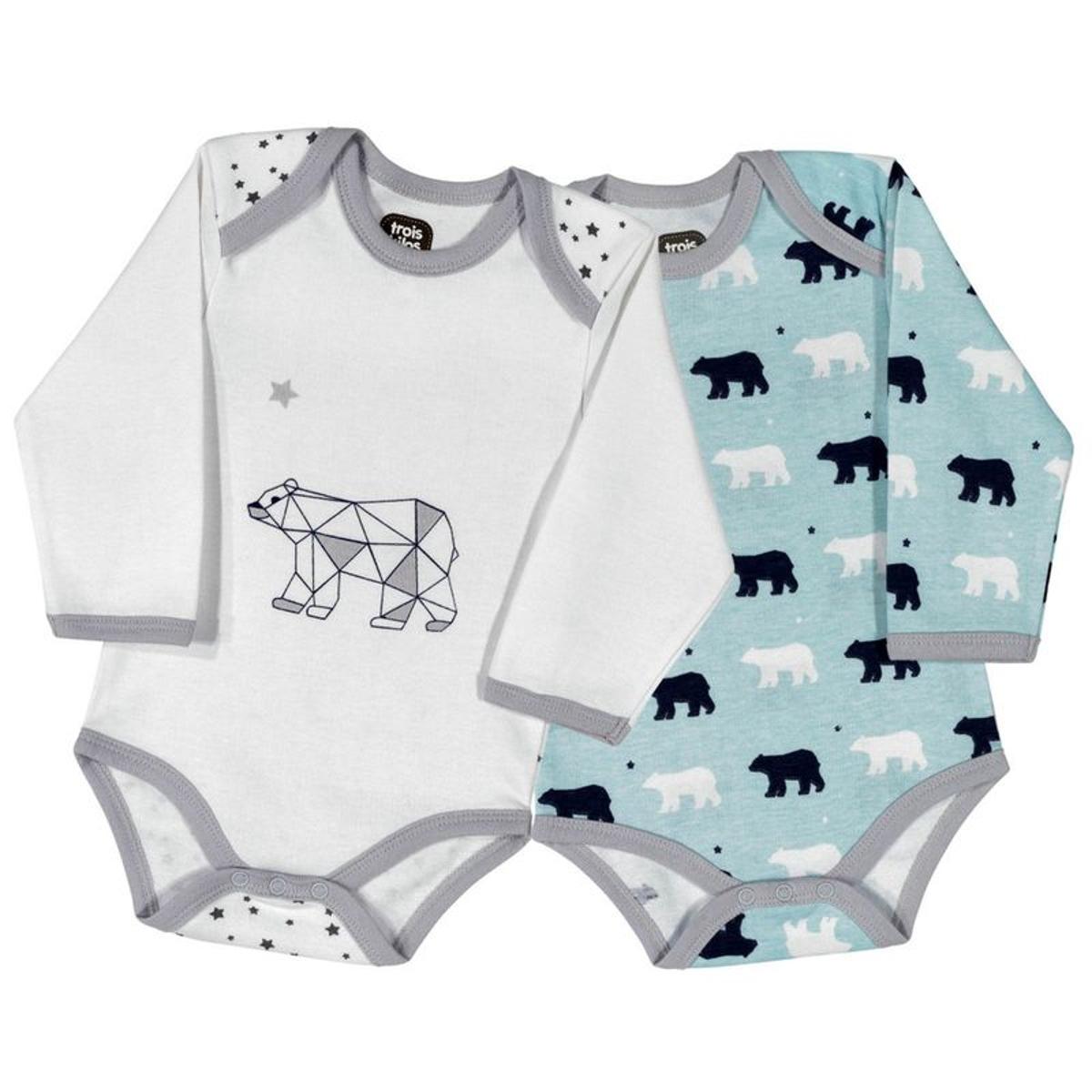 Body bébé garçon - Blanc et bleu ours origami