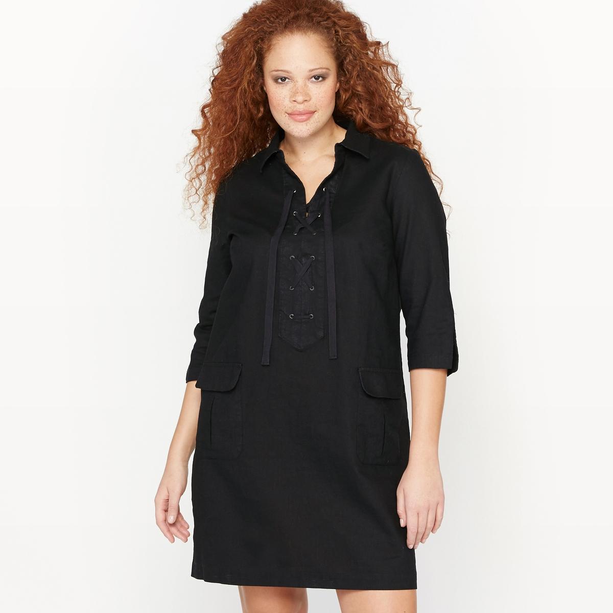 Платье со шнуровкойПлатье со шнуровкой.Рубашечный воротник.Полуоткрытое платье с застежкой на шнуровку с люверсами.2 накладных растяжных кармана с клапаном спереди.Длинные рукава с разрезами по краям.Состав и описание :Материал : 55% льна, 45% хлопка, без подкладки.Длина : 96 см для размера 48Марка : CASTALUNAУход : Машинная стирка при 40 °С.<br><br>Цвет: изумрудный,черный<br>Размер: 42 (FR) - 48 (RUS).48 (FR) - 54 (RUS)