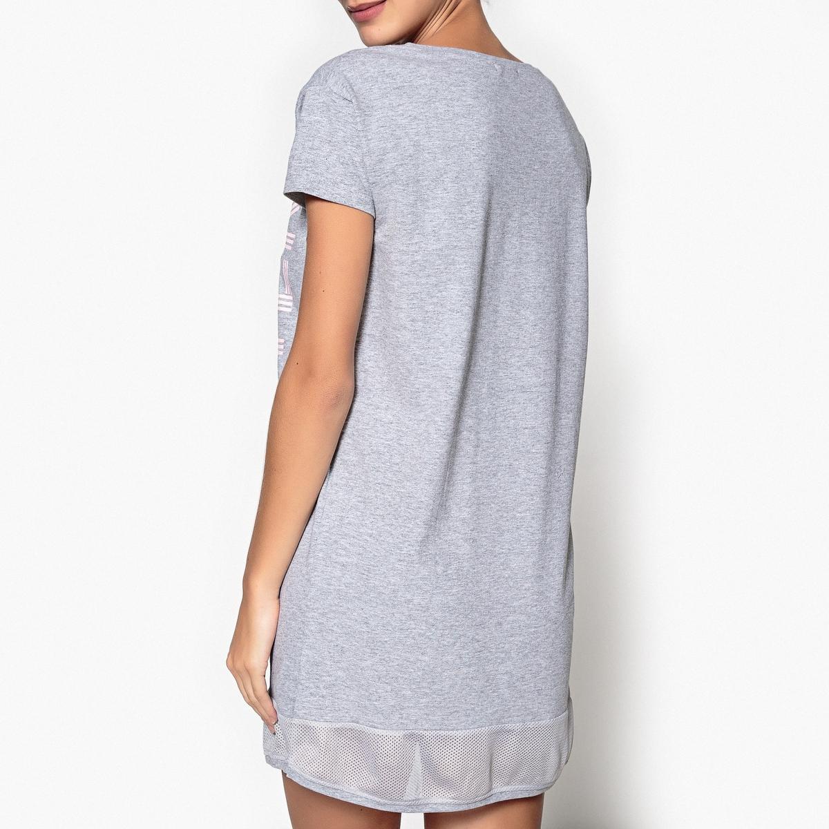 Сорочка ночная в форме рубашки из хлопка с рисунком