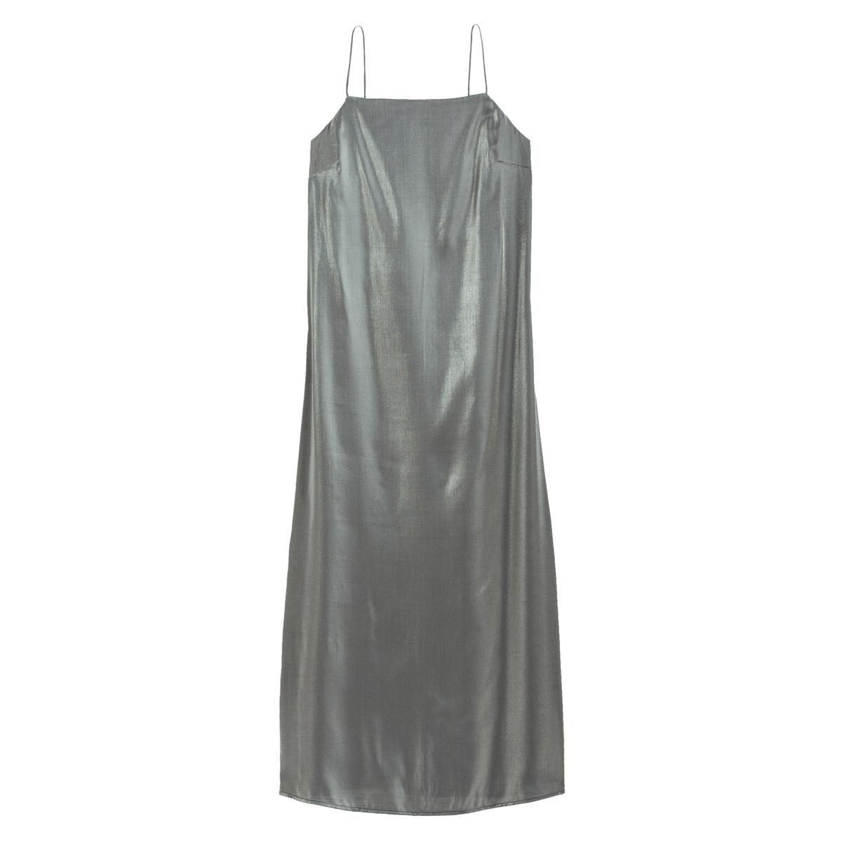 Vestido comprido de alças finas, em tecido brilhante
