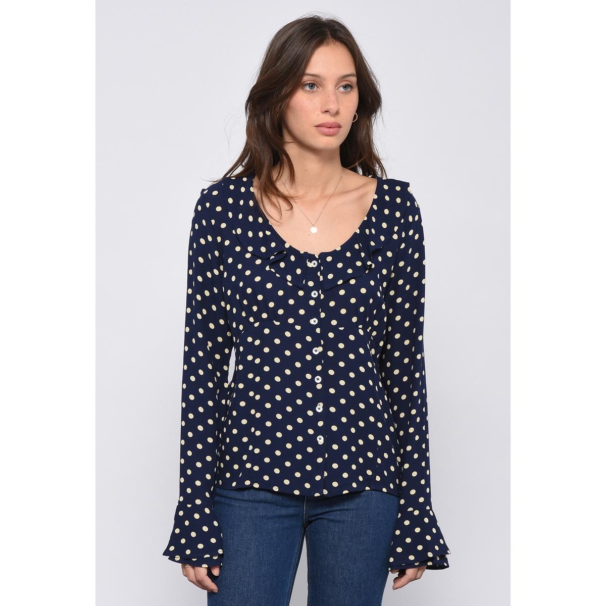 Рубашка в горошек с круглым вырезом с воланами CHOCOLAT рубашка с круглым вырезом и рисунком в горошек
