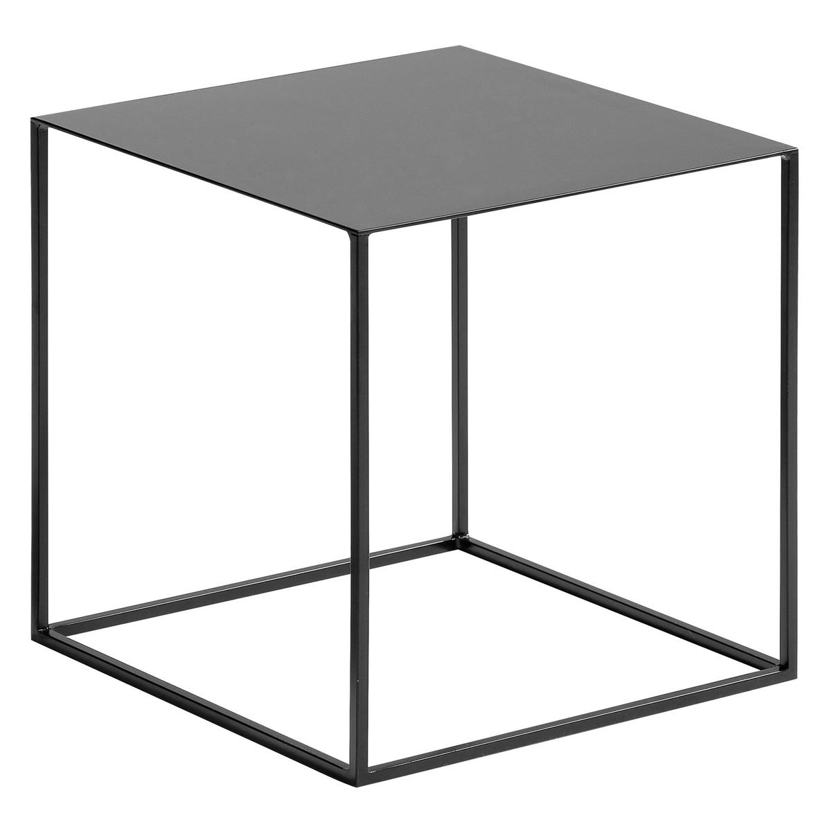 Столик из лакированного металла, RomyСтолик Romy. Очень элегантный столик кубической формы из лакированного металла и ножками из тонкой трубки  . Описание : - лакированный металл Размеры : - 40 x 40 x 40 см<br><br>Цвет: серый,черный