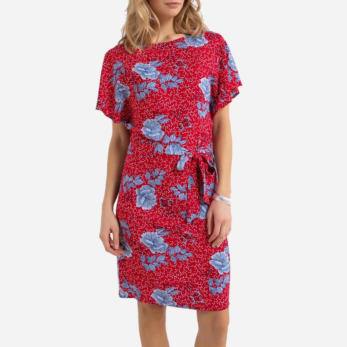 цена Платье-миди La Redoute Прямое с короткими рукавами 50 (FR) - 56 (RUS) красный онлайн в 2017 году