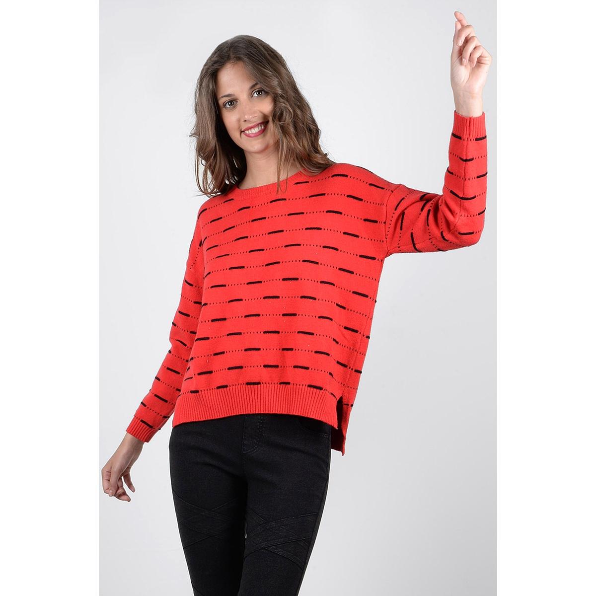 Пуловер с круглым вырезом из тонкого трикотажаДетали •  Длинные рукава •  Круглый вырез •  Тонкий трикотаж  •  Рисунок в полоску  Состав и уход •  45% вискозы, 55% полиамида •  Следуйте советам по уходу, указанным на этикетке<br><br>Цвет: красный