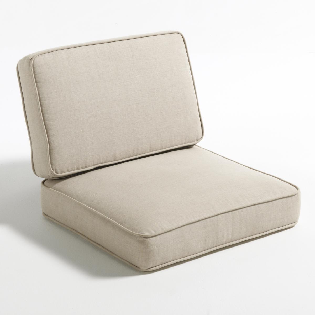 Подушка из льняного полотна для кресла DilmaМатериал : - Чехол: 100% лен- Наполнитель : полиэфирный пеноматериал 40 кг/м?, покрытие из волокон полиэстера. - Система креплений.- Чехлы подушек съемные Размеры :- Подушка для сиденья : Ш60 x В15 x Г58 см- Подушка под спину :  Ш58 x В10 x Г38 см<br><br>Цвет: экрю