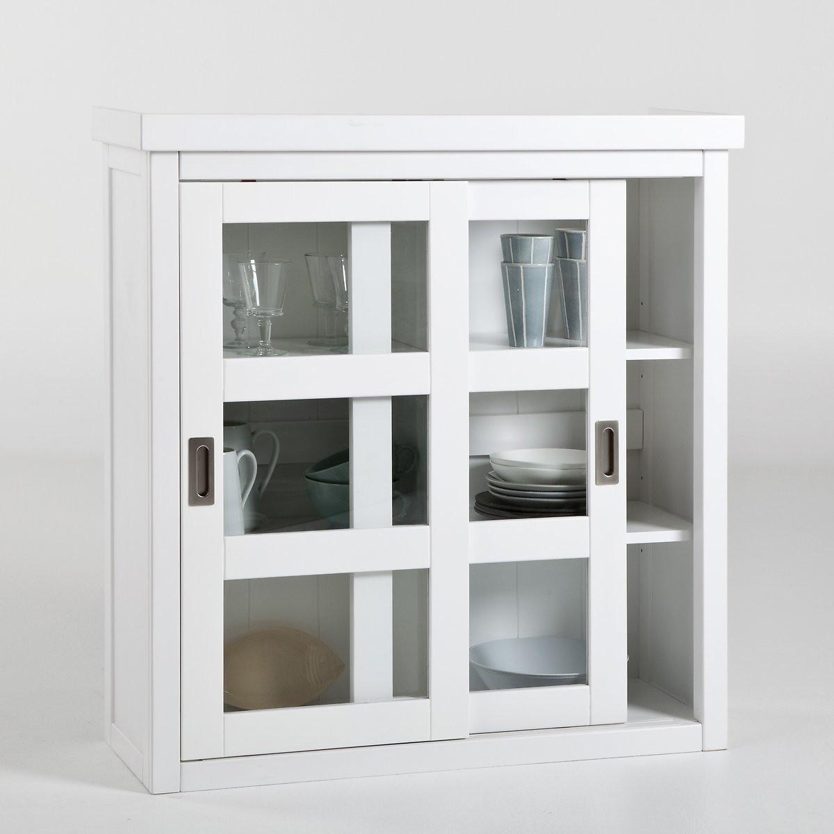 Шкаф LaRedoute Для посуды с 2 раздвижными дверками Inqaluit единый размер белый
