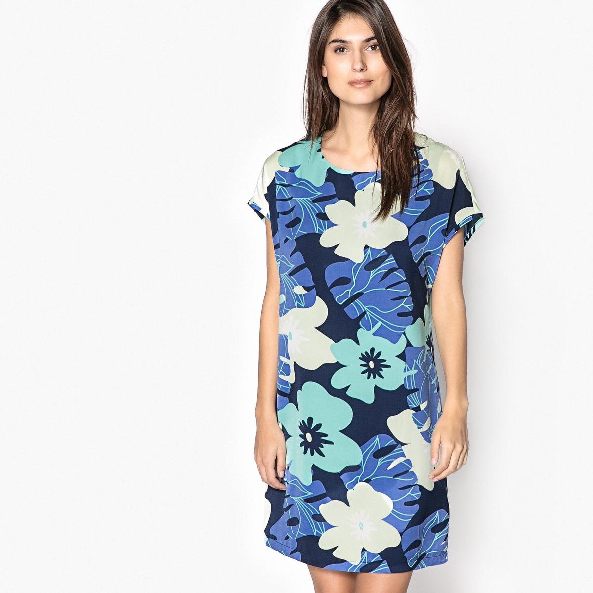 Платье прямое с цветочным рисунком