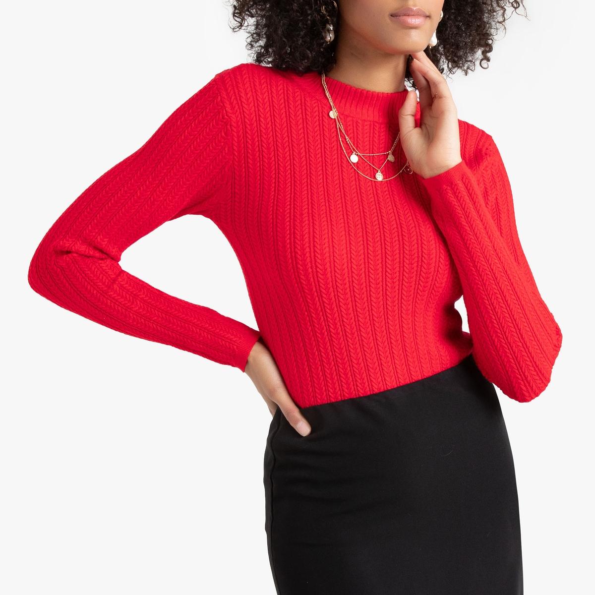Пуловер La Redoute С круглым вырезом из тонкого трикотажа мелкого плетения M красный пуловер la redoute с круглым вырезом из тонкого трикотажа m красный