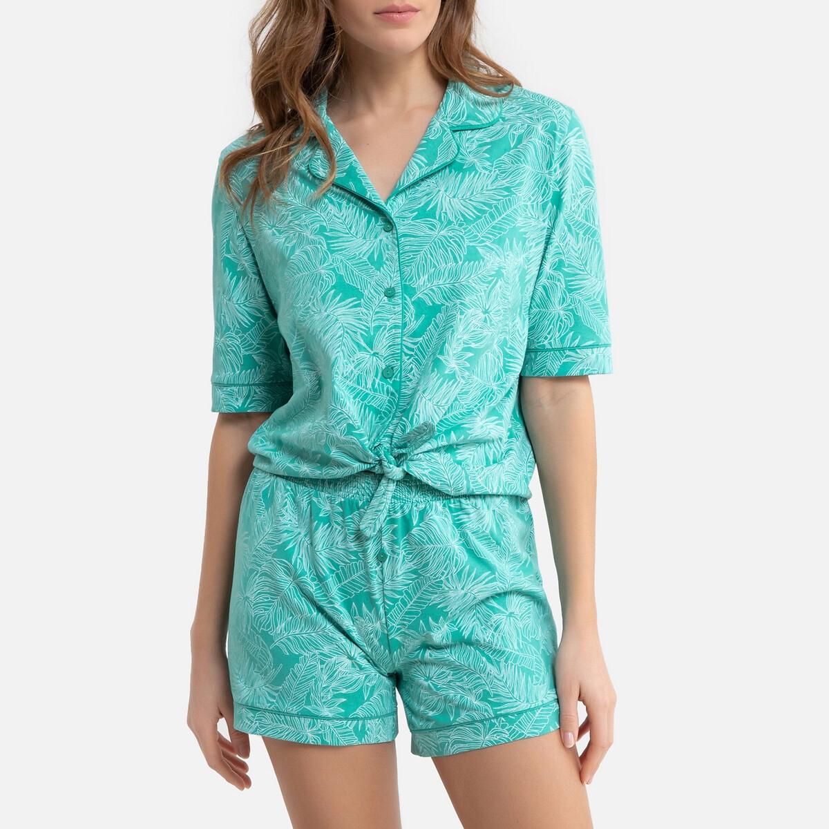 Пижама LaRedoute С шортами с рисунком 38/40 (FR) - 44/46 (RUS) зеленый жакет laredoute короткий с рубашечным воротником 34 fr 40 rus зеленый