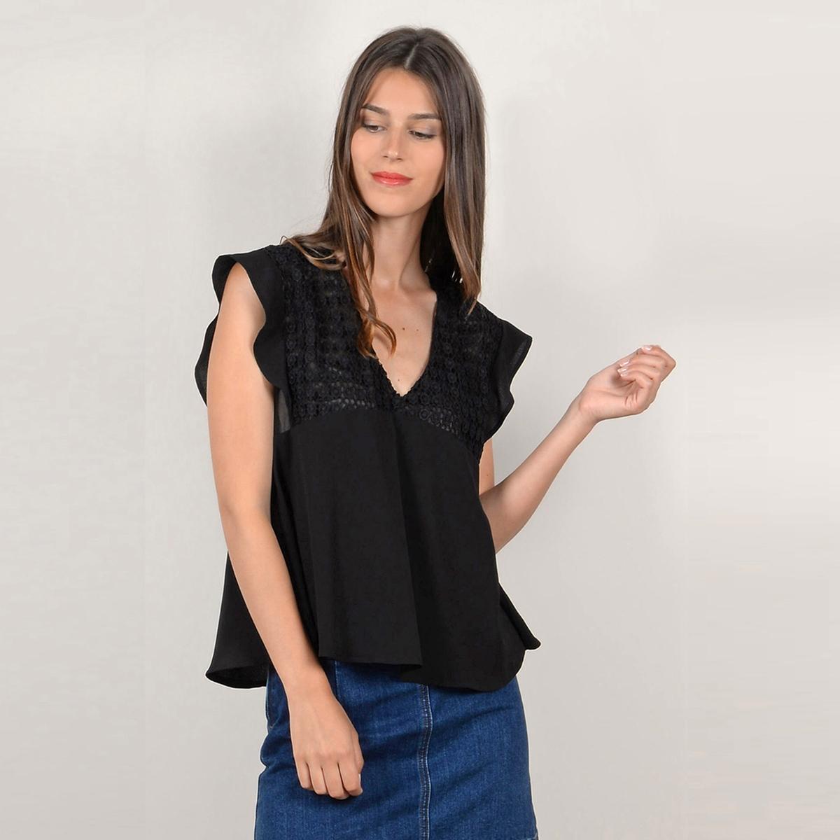 Блузка однотонная с V-образным вырезом и короткими рукавами блузка однотонная с короткими рукавами