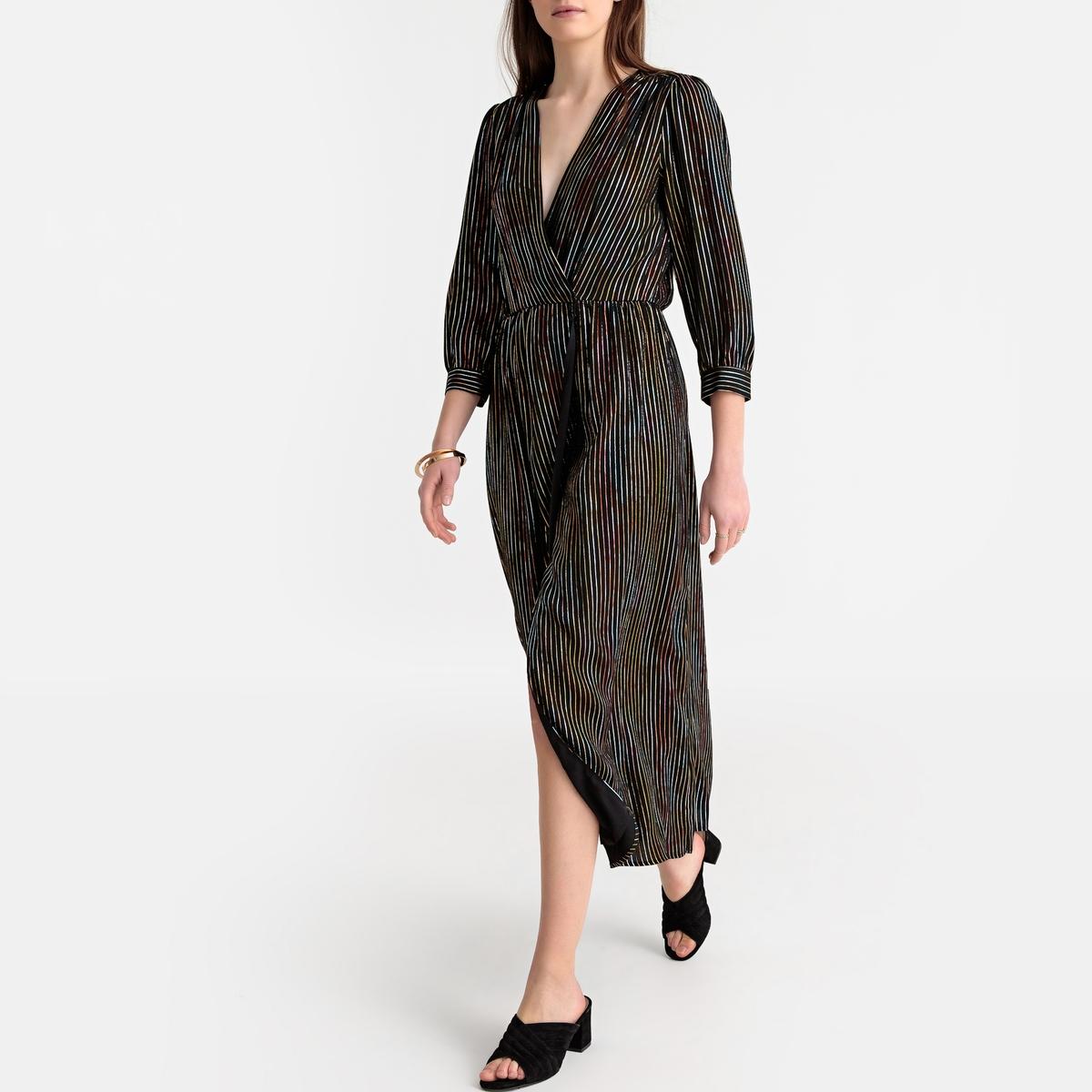 Платье La Redoute С запахом с рисунком M черный платье миди la redoute с запахом струящееся m синий