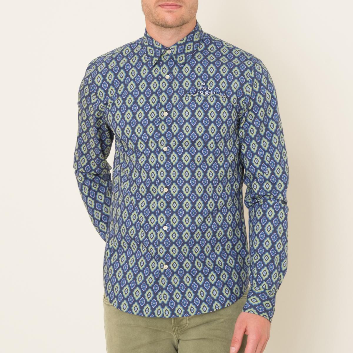Рубашка с рисункомСостав и описание    Материал : 100% хлопок Марка : SCOTCH AND SODA<br><br>Цвет: синий
