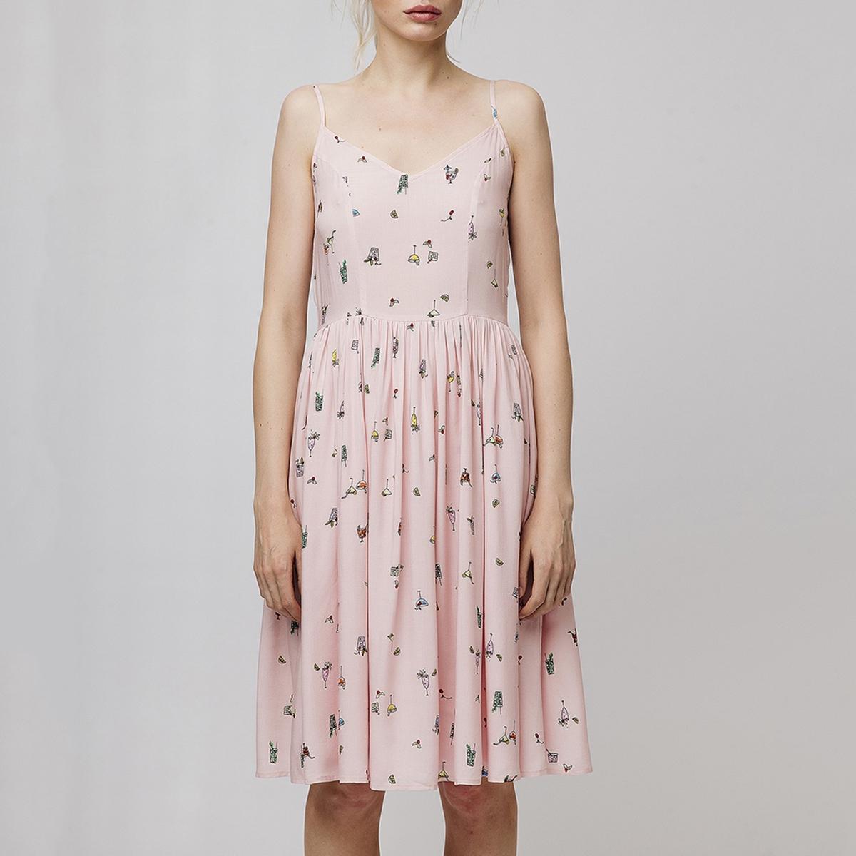 Платье La Redoute Короткое на бретелях с оригинальным рисунком XL розовый свитшот la redoute la redoute xl розовый