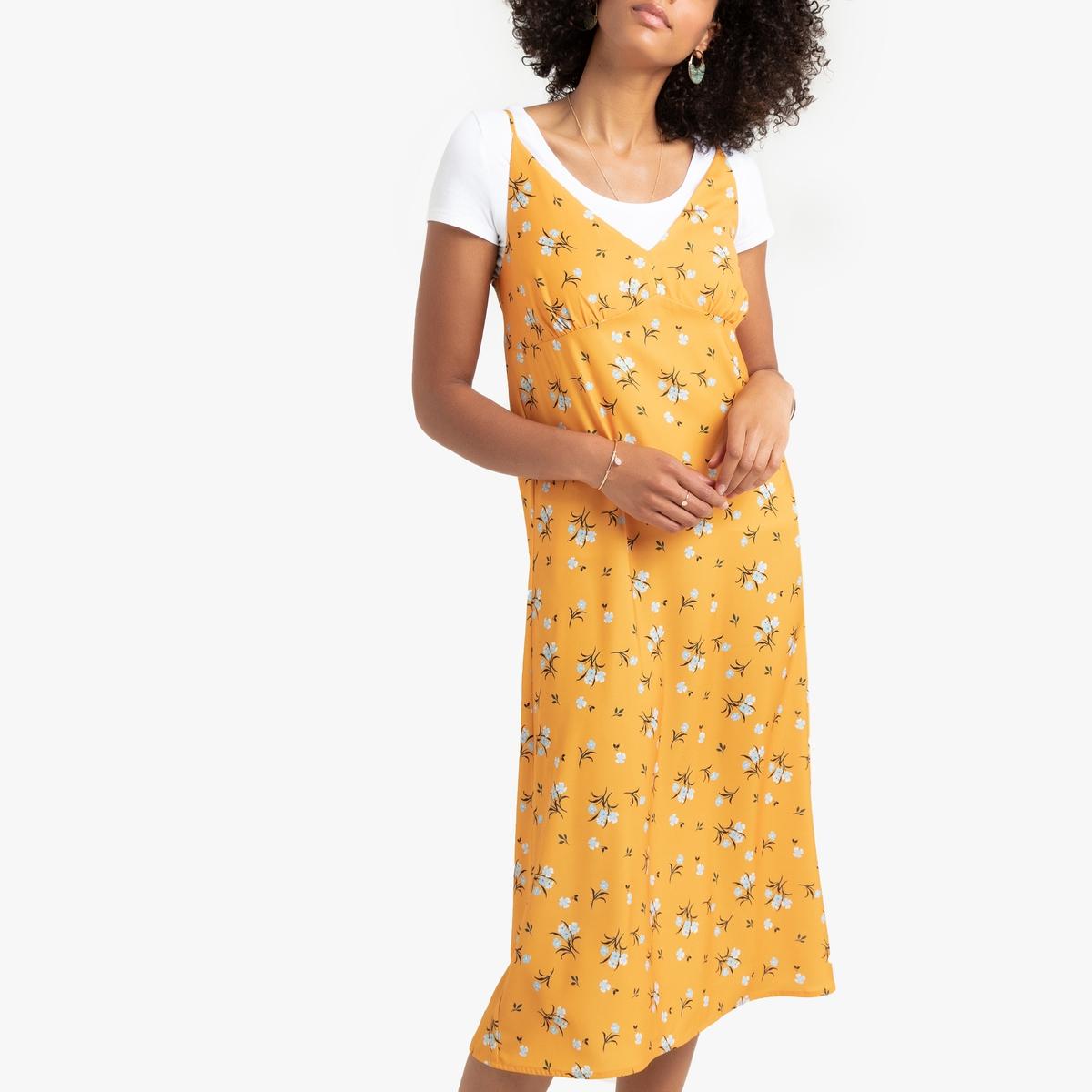 Прямое La Redoute Платье с тонкими бретелями с цветочным принтом 40 (FR) - 46 (RUS) желтый цена
