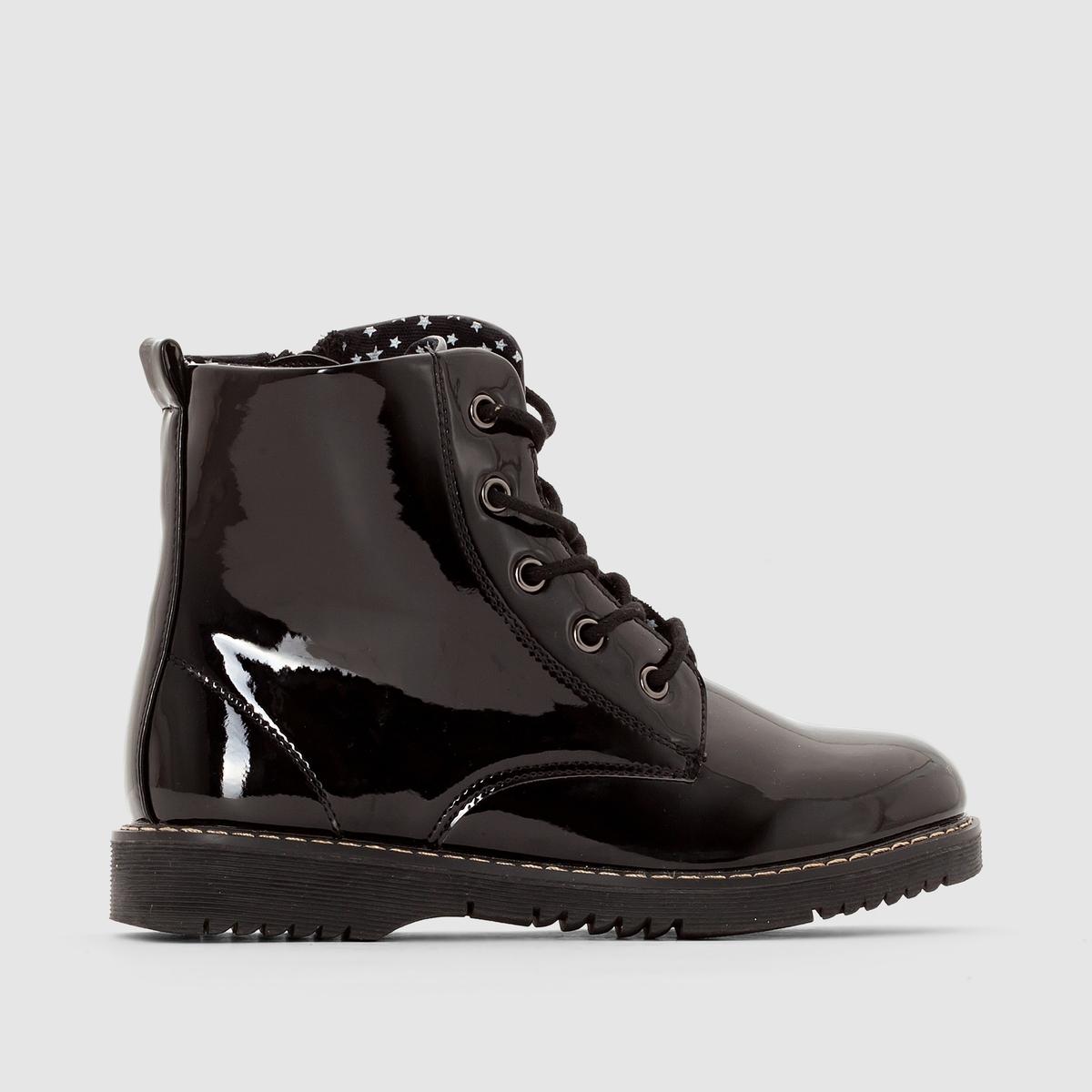 Ботинки лакированные на шнуровке.Застежка: шнуровка и молния сбоку до 35 размера.<br><br>Цвет: красный лак,Черный лак