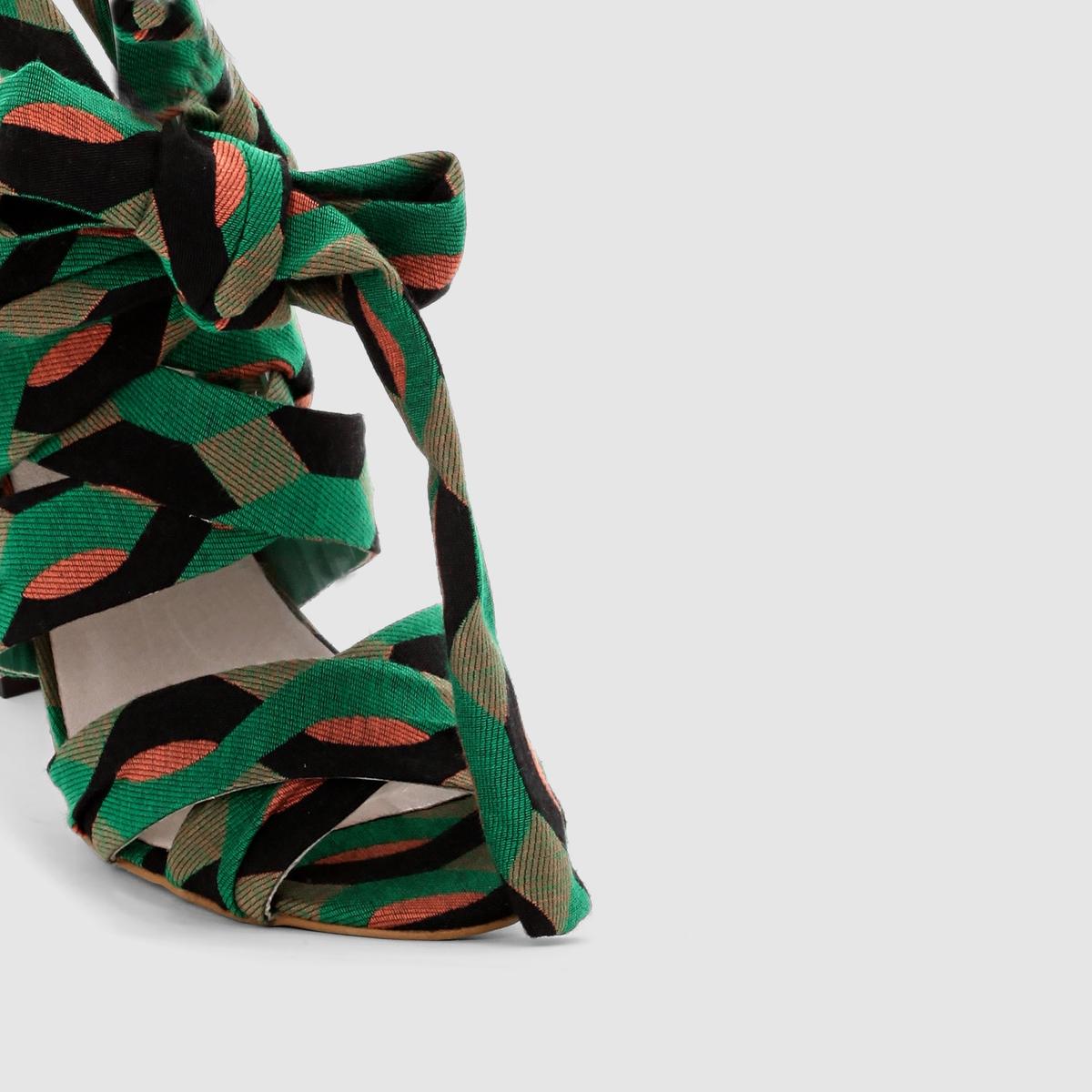 БосоножкиВерх : текстиль       Подкладка : синтетика     Стелька : кожа      Подошва : из эластомера         Застежка :  ремешки с пряжками     Каблук : 10 см<br><br>Цвет: рисунок/зеленый<br>Размер: 35