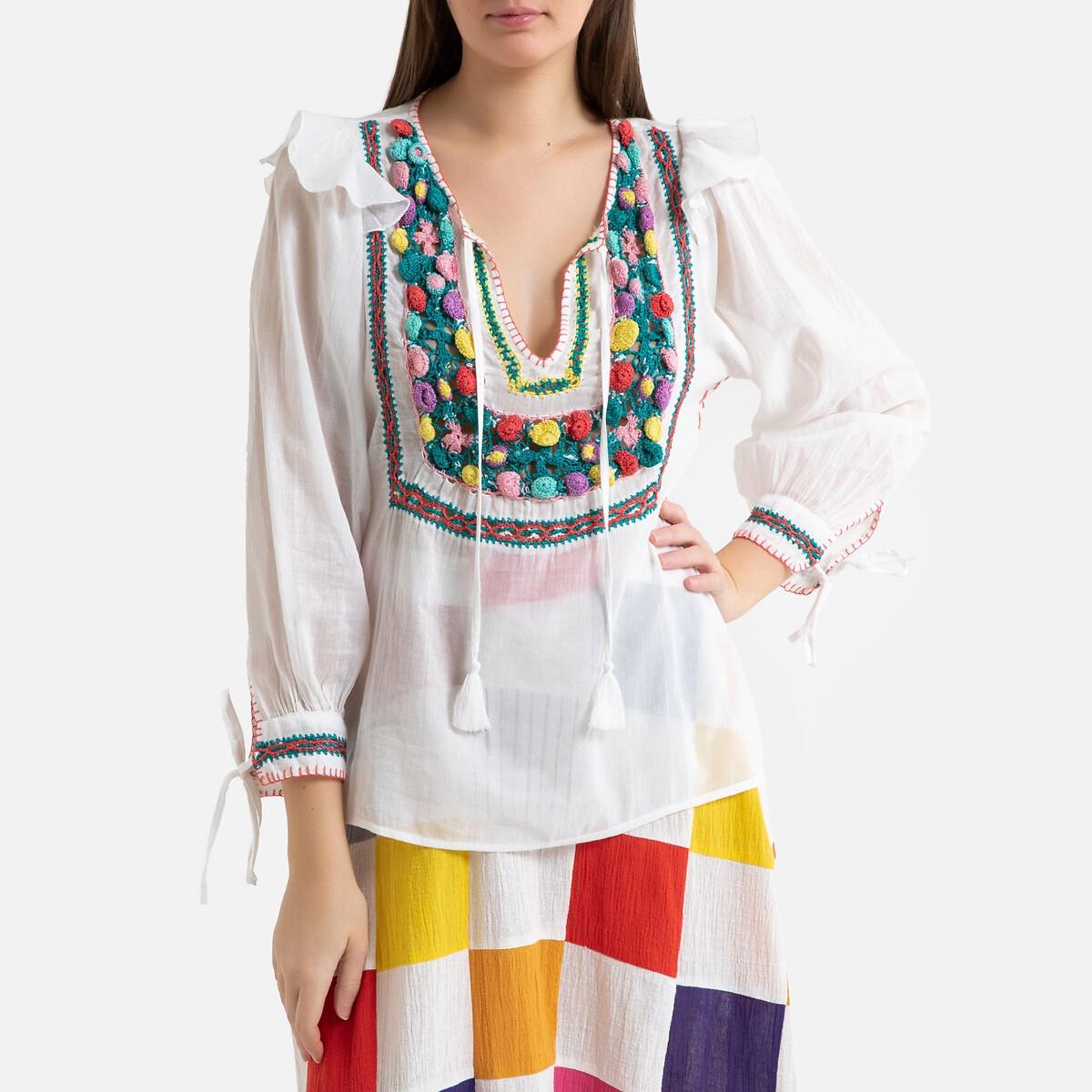 Блузка La Redoute С вышивкой из хлопковой вуали LOVA 38 (FR) - 44 (RUS) разноцветный жакет lova lova mp002xw13yca