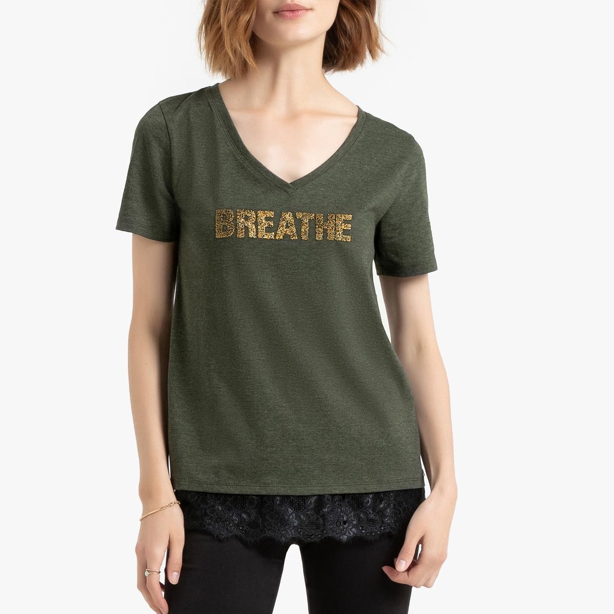 Футболка La Redoute С короткими рукавами V-образным вырезом и логотипом на груди XS зеленый футболка la redoute с v образным вырезом короткими рукавами и принтом спереди l белый