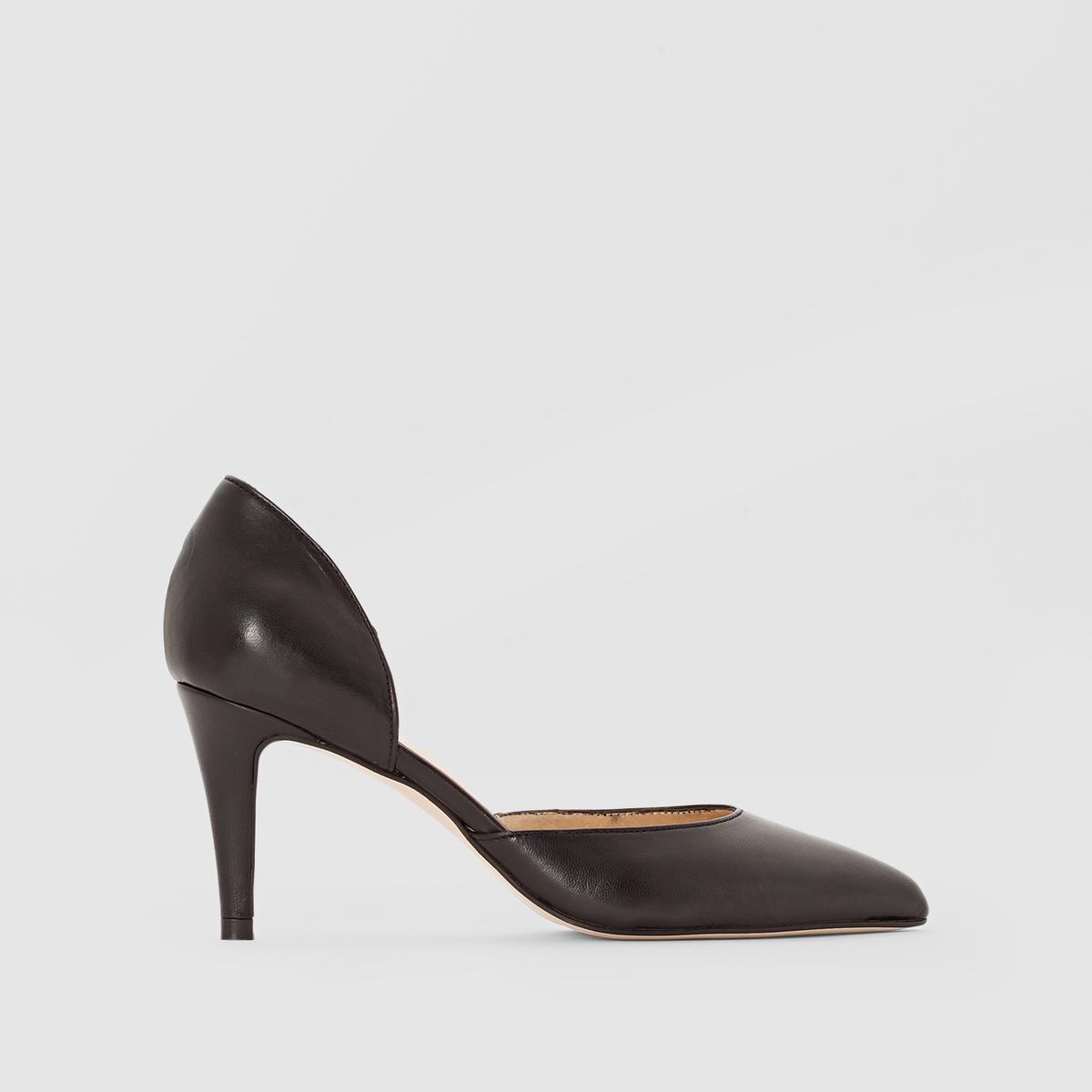 Туфли кожаные на каблуке, ADNETПодкладка: кожа.    Стелька: кожа.       Подошва: эластомер.       Форма каблука: шпилька.Мысок: острый          Застежка: без застежки.<br><br>Цвет: черный