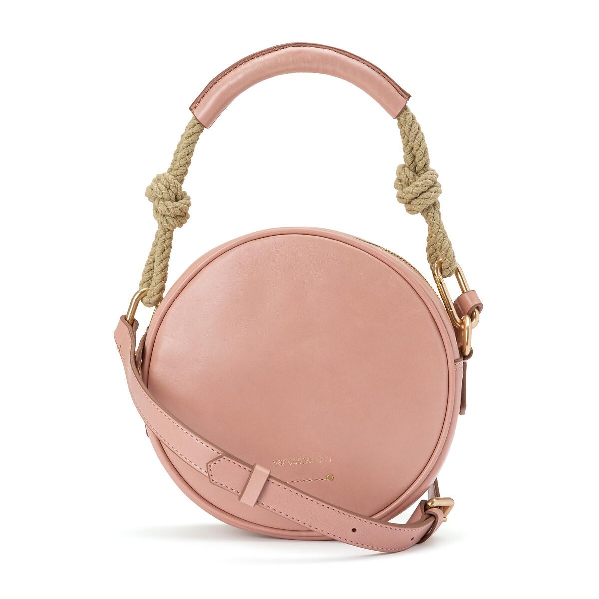 Сумка La Redoute Круглая из гладкой кожи единый размер розовый