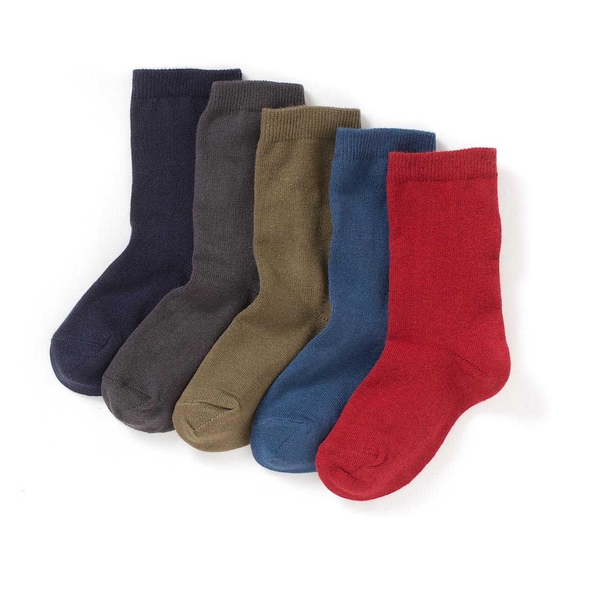 Комплект из 5 пар однотонных коротких носков от La Redoute