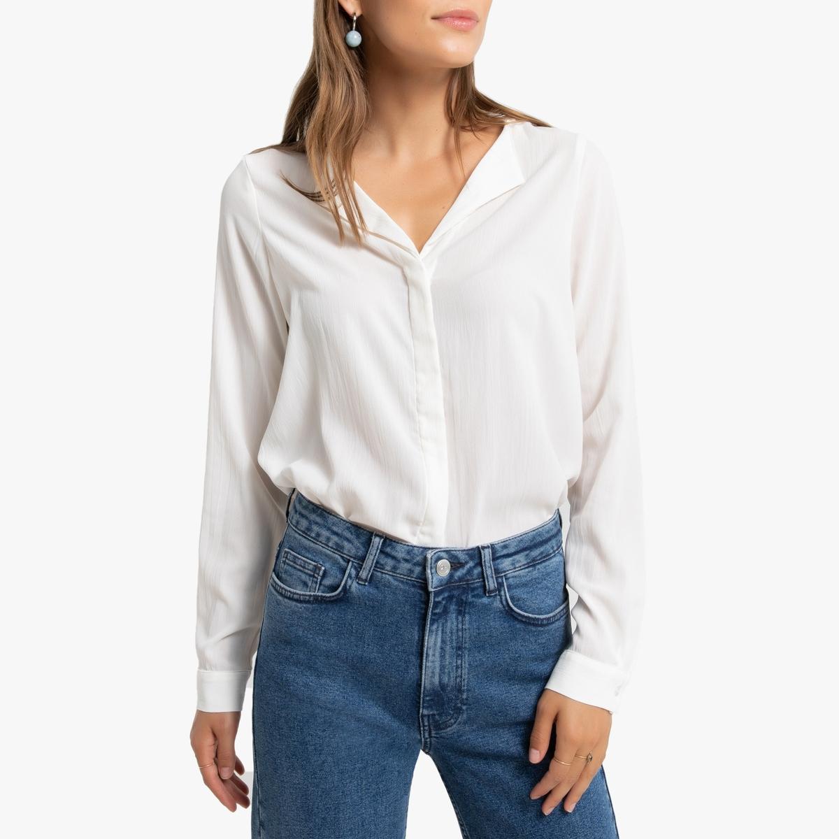 цена Блузка La Redoute С V-образным вырезом и длинными рукавами M белый онлайн в 2017 году