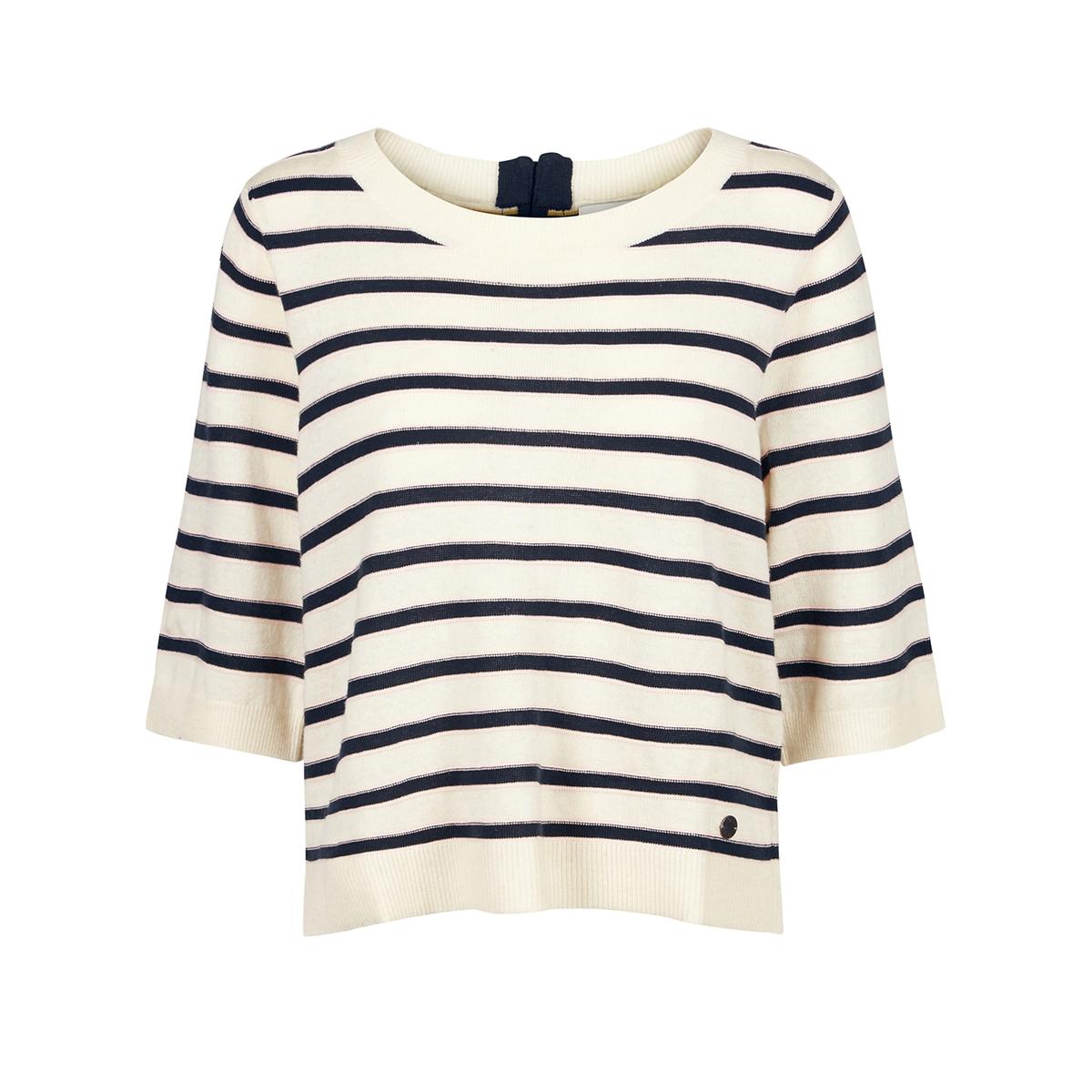 Пуловер в полоску с рукавами 3/4, на молнии сзадиМатериал : 10% шерсти, 60% акрила, 5% ангоры, 25% полиамидаДлина рукава : Рукава 3/4 Форма воротника : Круглый вырез Покрой пуловера : СтандартныйРисунок : в полоску.<br><br>Цвет: экрю/ синий
