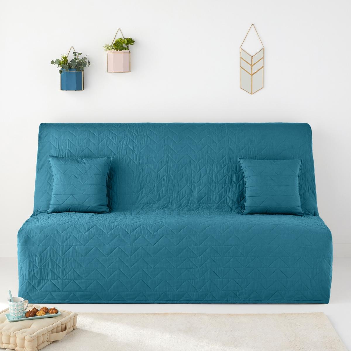 Чехол La Redoute Стеганый для раскладного дивана ZIGZAG SCENARIO единый размер синий чехол la redoute эластичный для кресла и дивана ahmis 3 местн белый