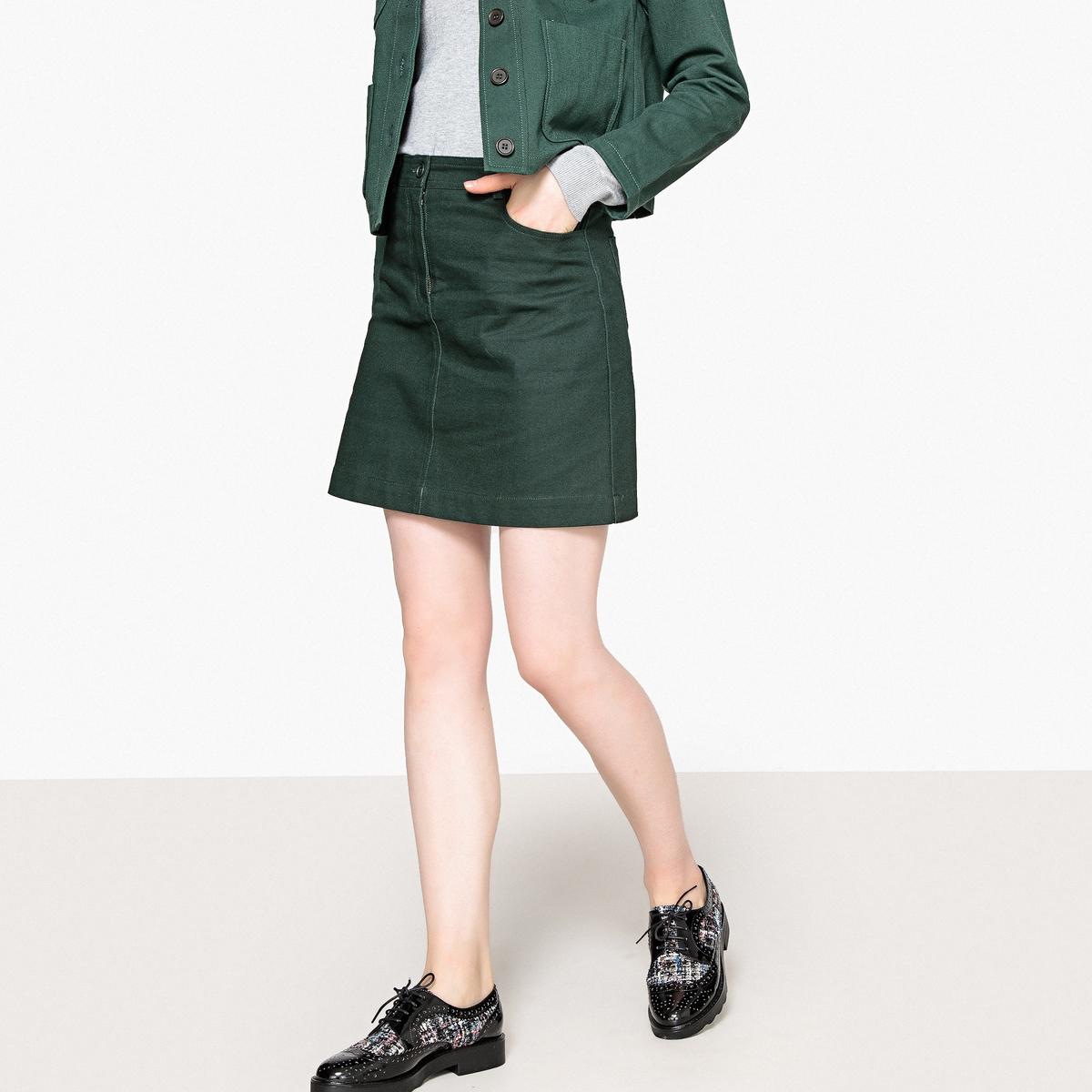 Юбка La Redoute Короткая из хлопка 34 (FR) - 40 (RUS) зеленый юбка la redoute короткая прямая из ткани с пропиткой 40 fr 46 rus черный