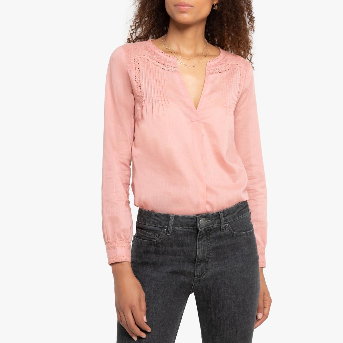 Блузка La Redoute С длинными рукавами и круглым вырезом с разрезом спереди Tolaa L розовый блузка с круглым вырезом графическим рисунком и длинными рукавами